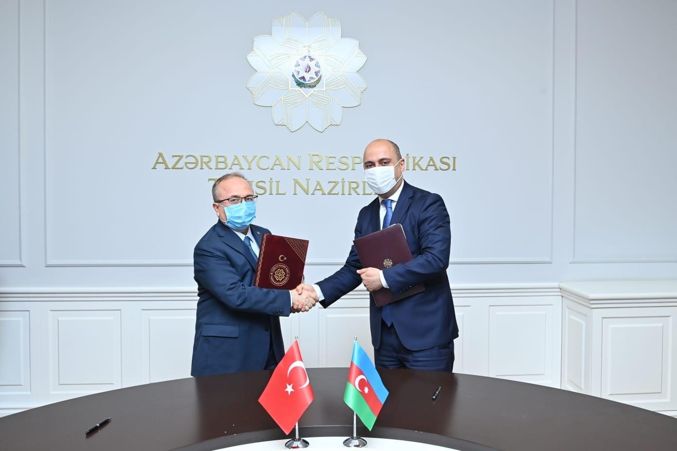 President of Maarif Foundation Birol Akgün (L) meets with Azerbaijan's Education Minister Emin Amrullayev in Baku, Azerbaijan, May 21, 2021. (AA Photo)