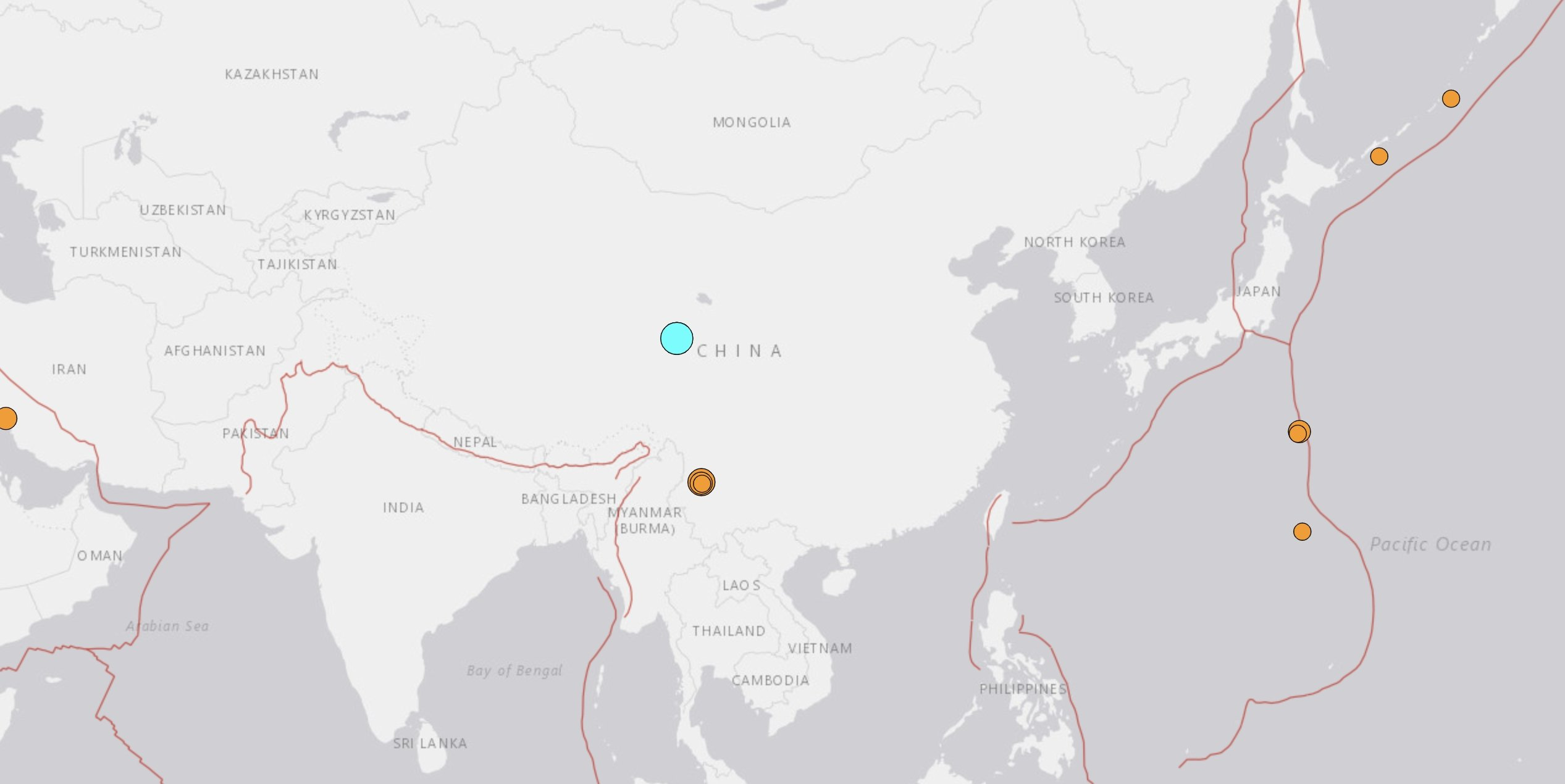 A screenshot shows the epicenter of the magnitude 7.4 earthquake that hit China's Qinghai province. (U.S. Geological Survey Photo)