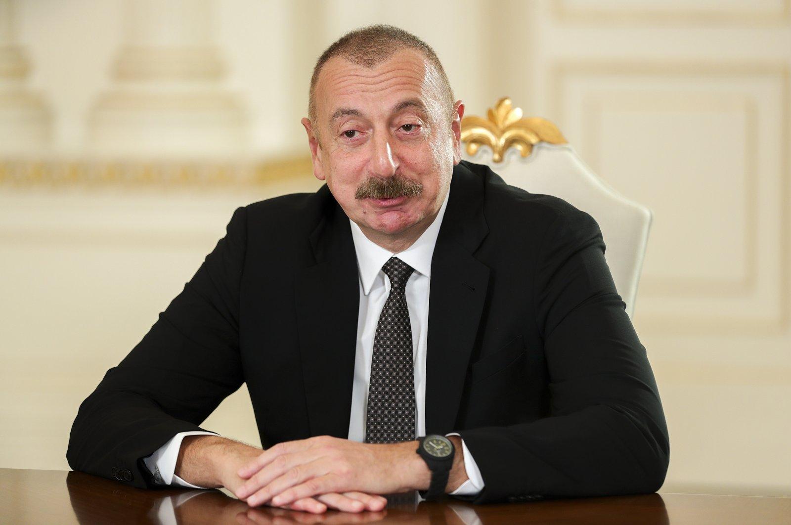 Azerbaijani President Ilham Aliyev speaks during a meeting in Baku, Azerbaijan,  May 10, 2021. (AP Photo)