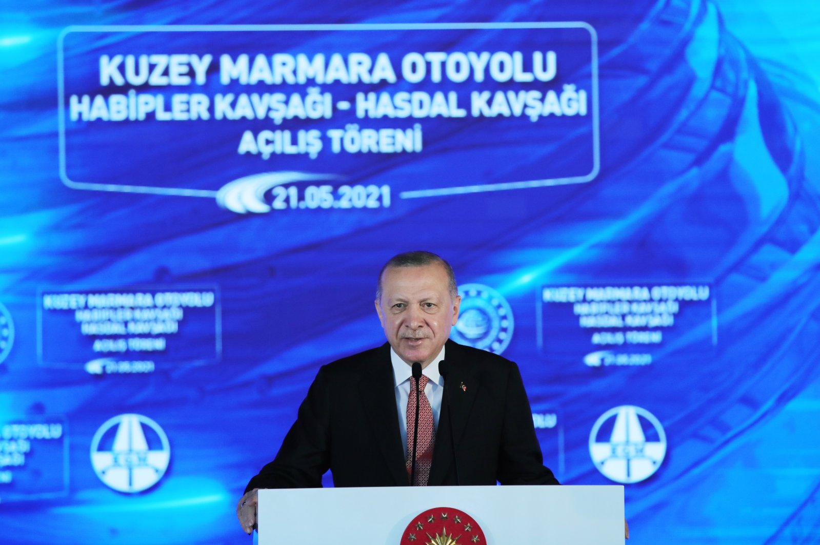 President Recep Tayyip Erdoğan speaks at the opening ceremony of the seventh and last section of the Northern Marmara Motorway, Istanbul, Turkey, May 21, 2021. (AA Photo)