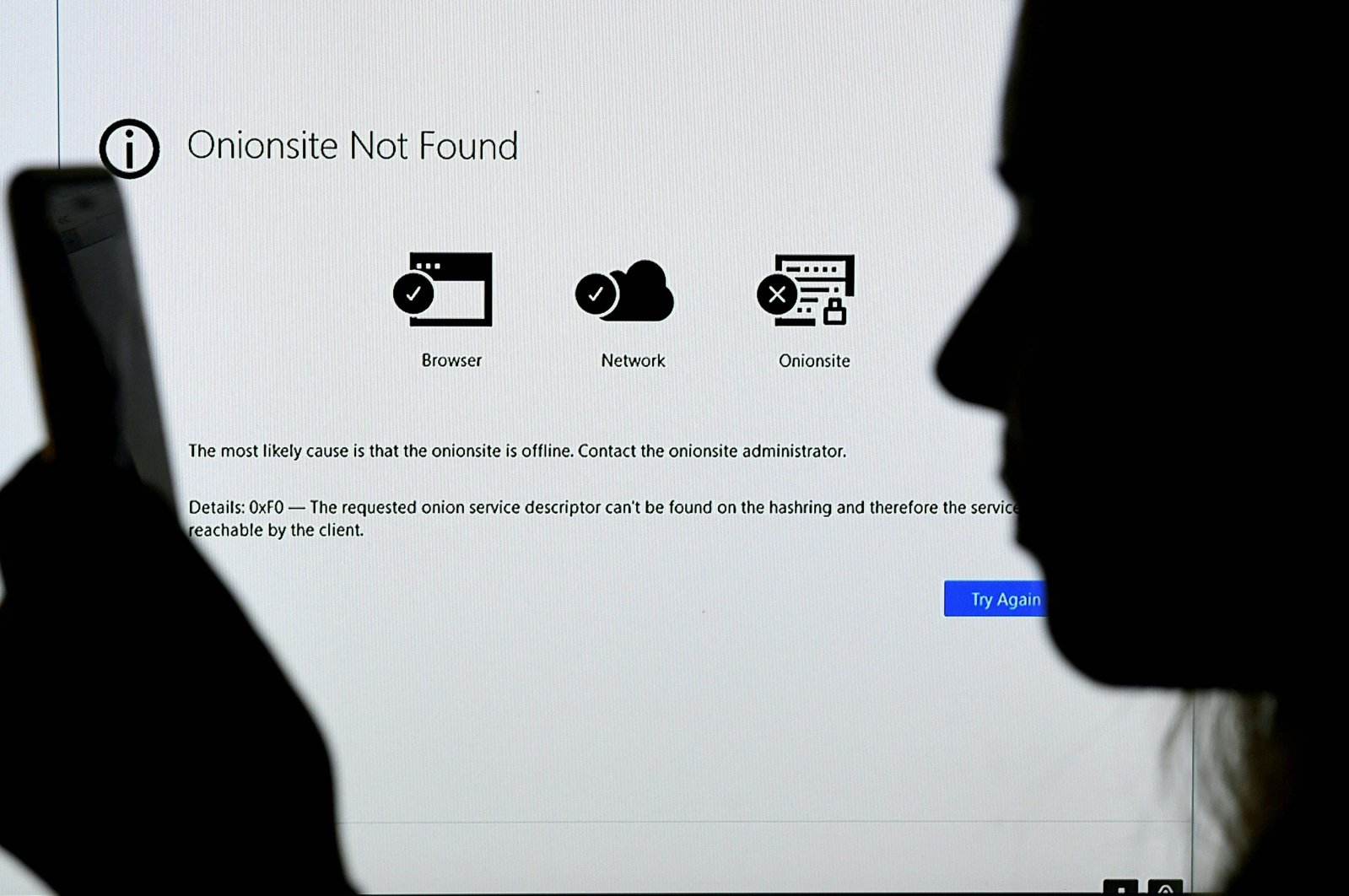 A monitor displays a website's error screen, in Arlington, Virginia, U.S., May 14, 2021. (AFP Photo)
