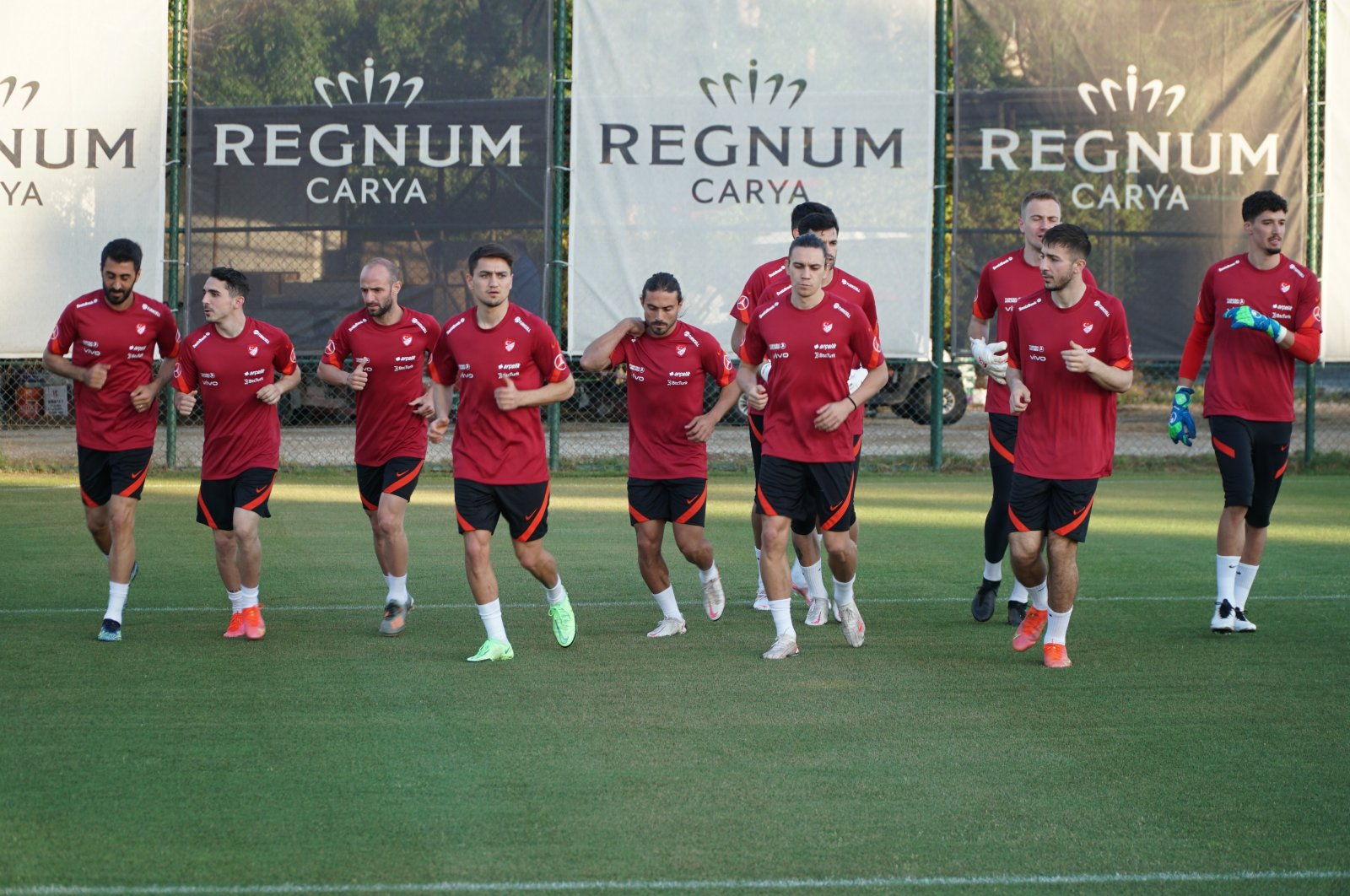 Turkish national football team players practice during a training session in Antalya, Turkey, May 19, 2021. (IHA Photo)