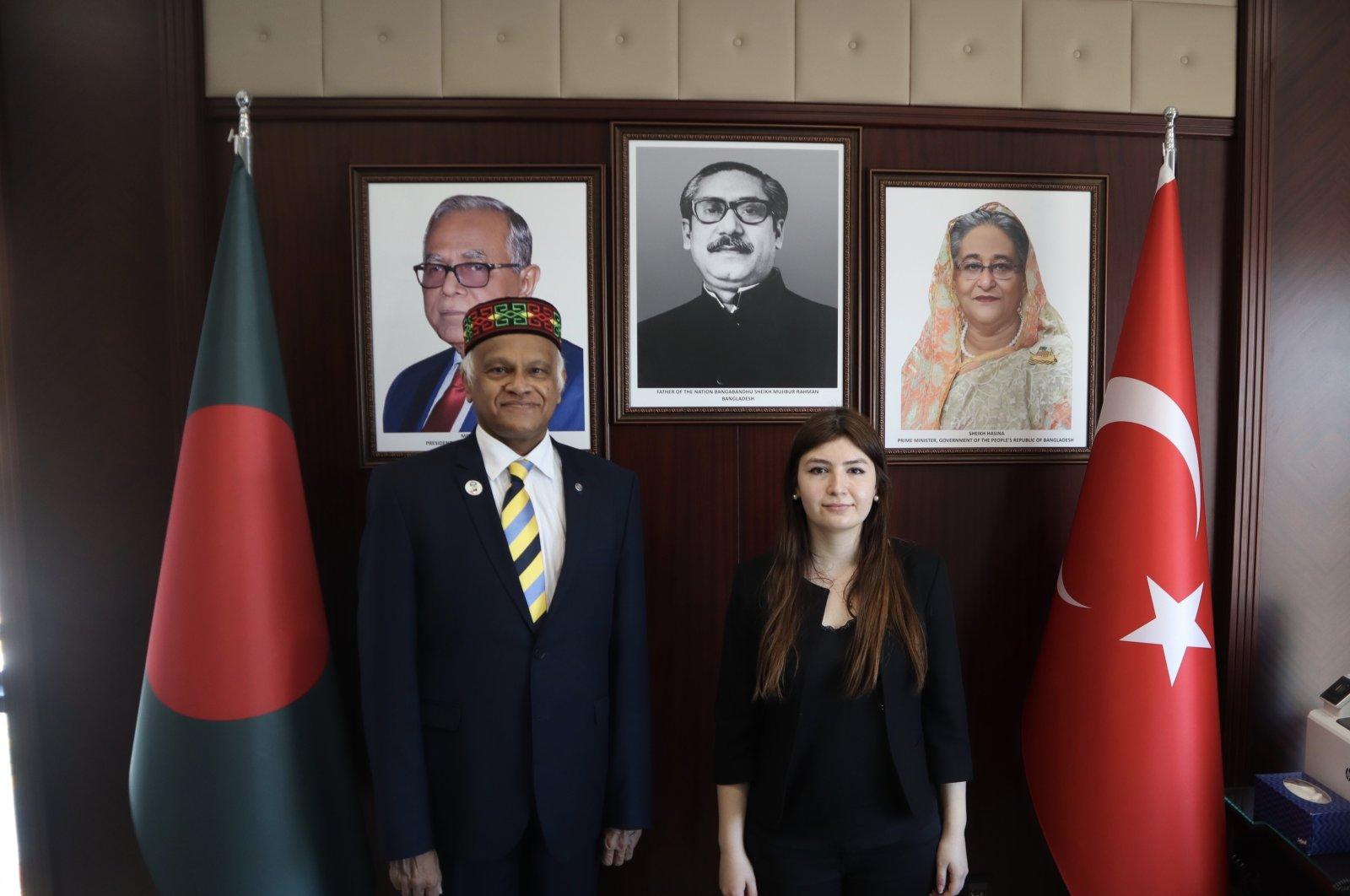 Bangladesh's Ambassador to Turkey Mosud Mannan poses for a photo with Daily Sabah's Dilara Aslan at the Bangladesh Embassy in Ankara, Turkey, May 18, 2021. (Daily Sabah Photo)