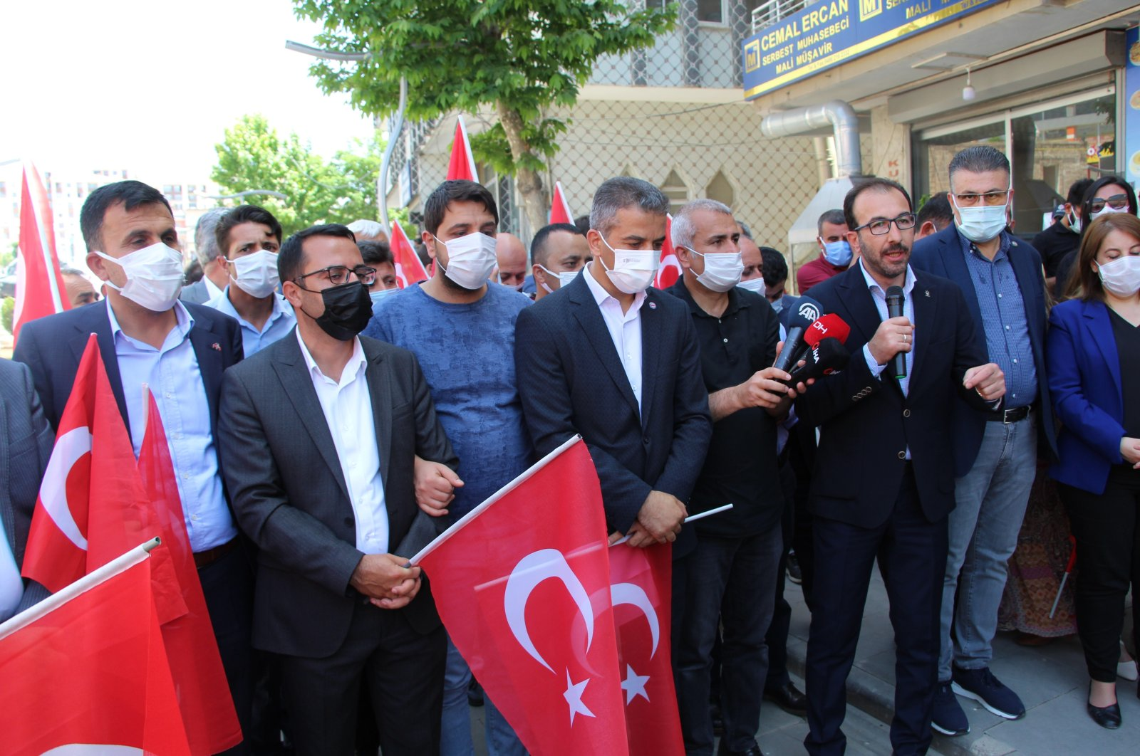A group of citizens protests the PKK's recent terror attack attempts in southeastern Şırnak province, Turkey, May 21, 2021. (IHA Photo)