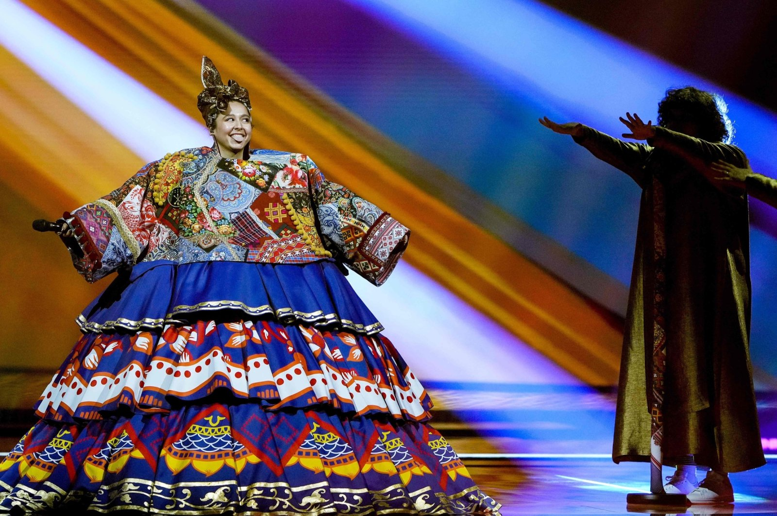 """Manizha from Russia performs with the song """"Russian Woman"""" during the dress rehearsal of the final of the Eurovision Song Contest in Rotterdam, The Netherlands, May 21, 2021. (AFP Photo)"""