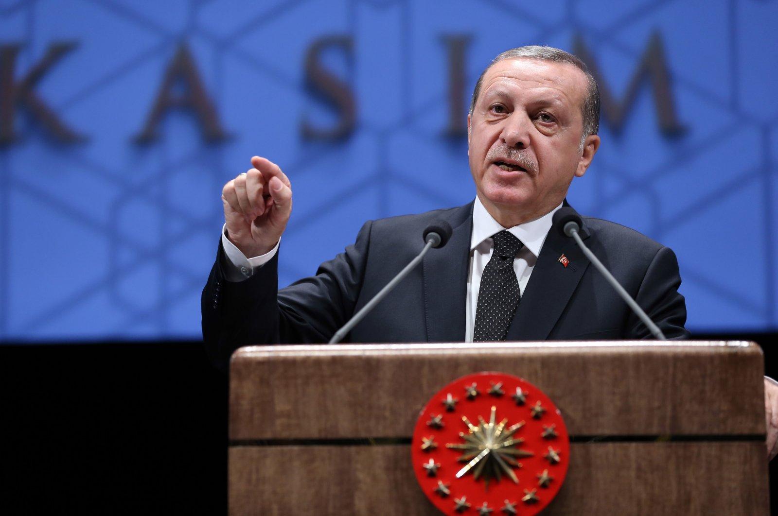 President Recep Tayyip Erdoğan speaks at the commemoration ceremony to mark Turkey's founder Mustafa Kemal Atatürk's death at the Beştepe Cultural Center in Ankara, Turkey, May 21, 2021. (AA Photo)
