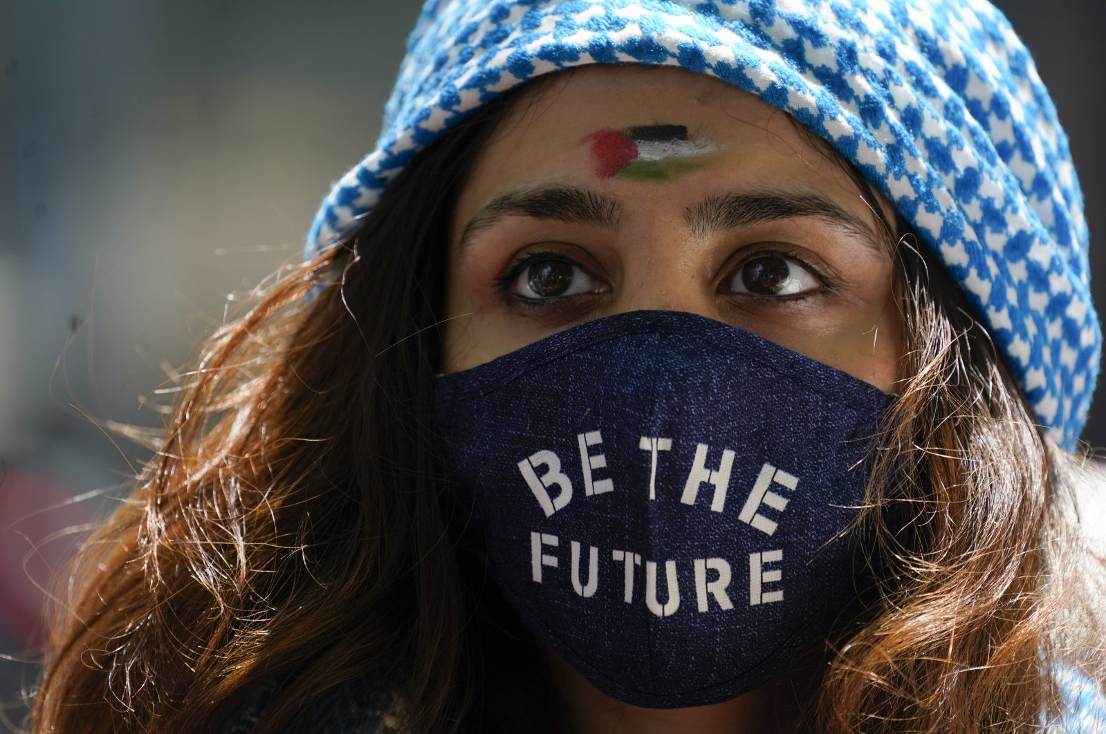 A supporter of the Palestinians demonstrates outside the Israeli consulate in New York City, New York, U.S., May 21, 2021.  (AP Photo)
