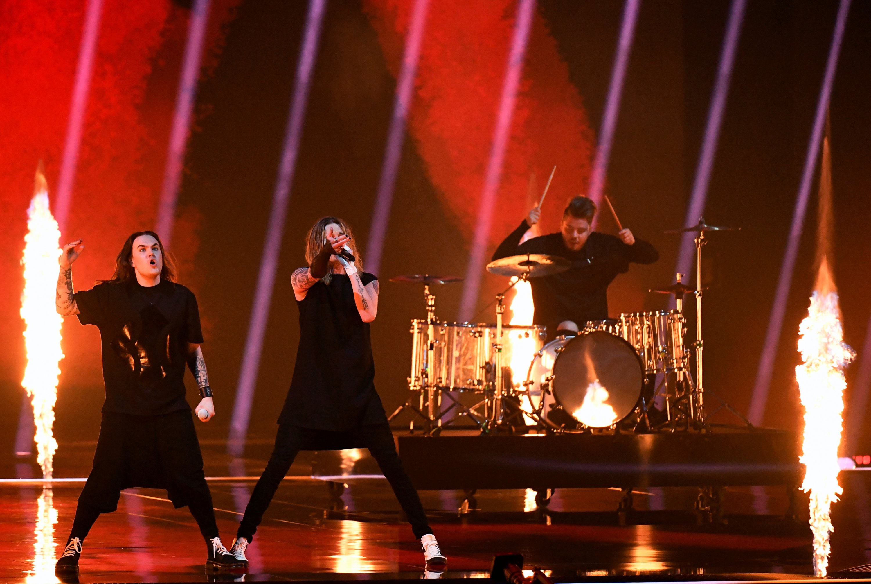 Participant Blind Channel of Finland performs during the Jury Grand Final dress rehearsal of the 2021 Eurovision Song Contest in Rotterdam, the Netherlands, May 21, 2021. (Reuters Photo)