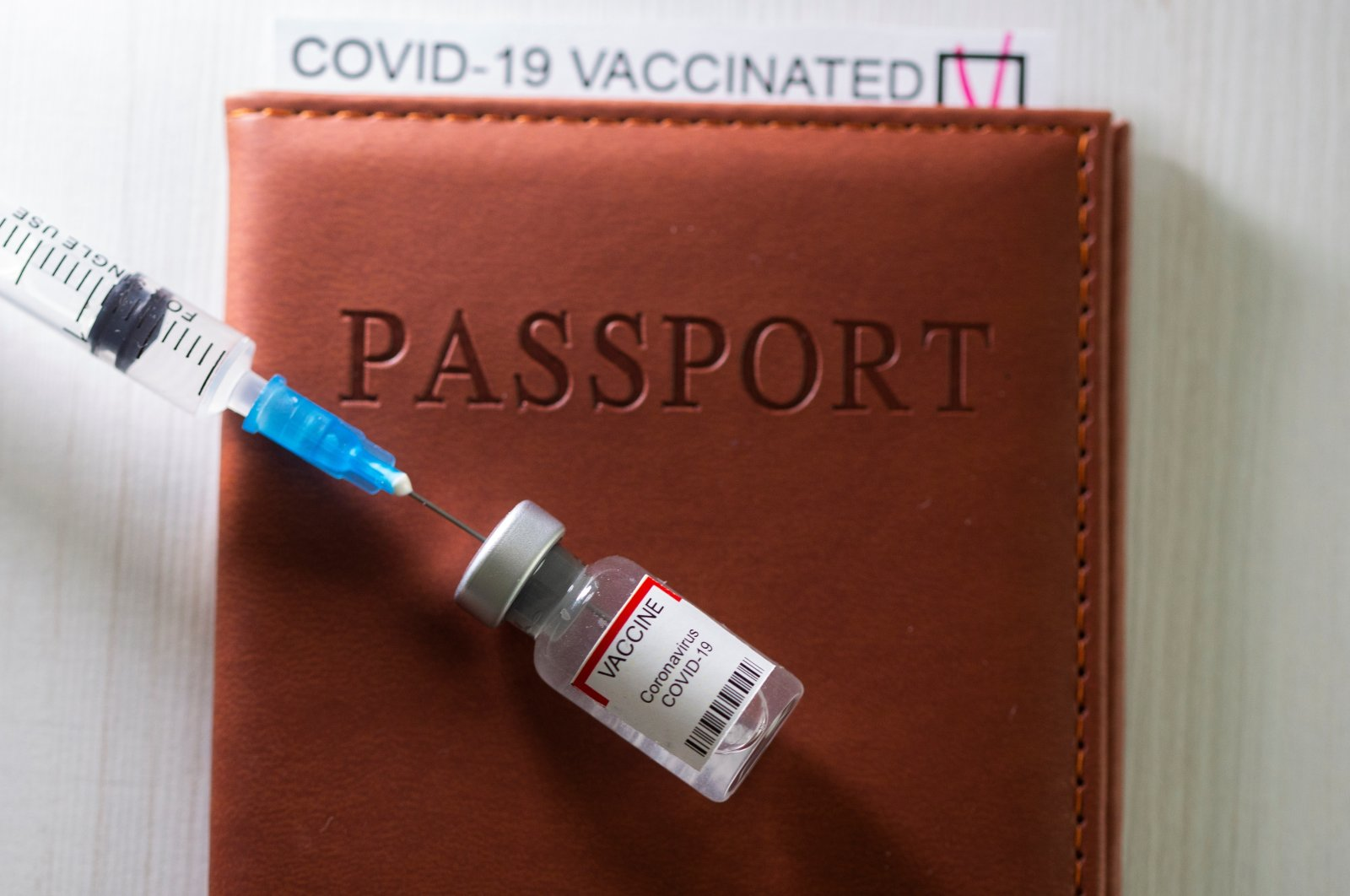 """A syringe and a vial labeled """"coronavirus disease vaccine"""" are placed on a passport with the printed words """"COVID-19 vaccinated"""" in this illustration taken April 27, 2021. (REUTERS)"""