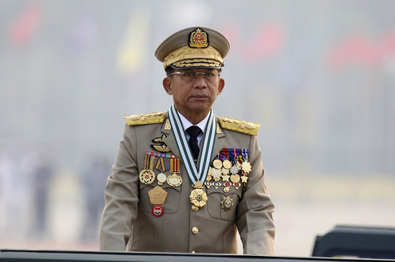 Myanmar's Commander-in-Chief Senior Gen. Min Aung Hlaing presides an army parade on Armed Forces Day in Naypyitaw, Myanmar, March 27, 2021. (AP Photo)