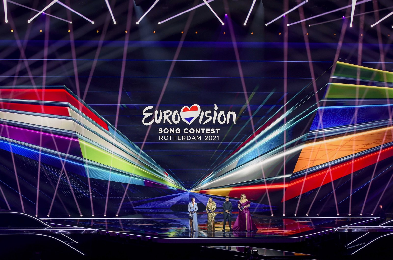 Presenters Edsilia Rombley, Chantal Janzen, Jan Smit and Nikkie de Jager onstage during the dress rehearsal for the Grand Final of the 65th annual Eurovision Song Contest (ESC) at the Rotterdam Ahoy arena, in Rotterdam, the Netherlands, May 21, 2021. (EPA Photo)