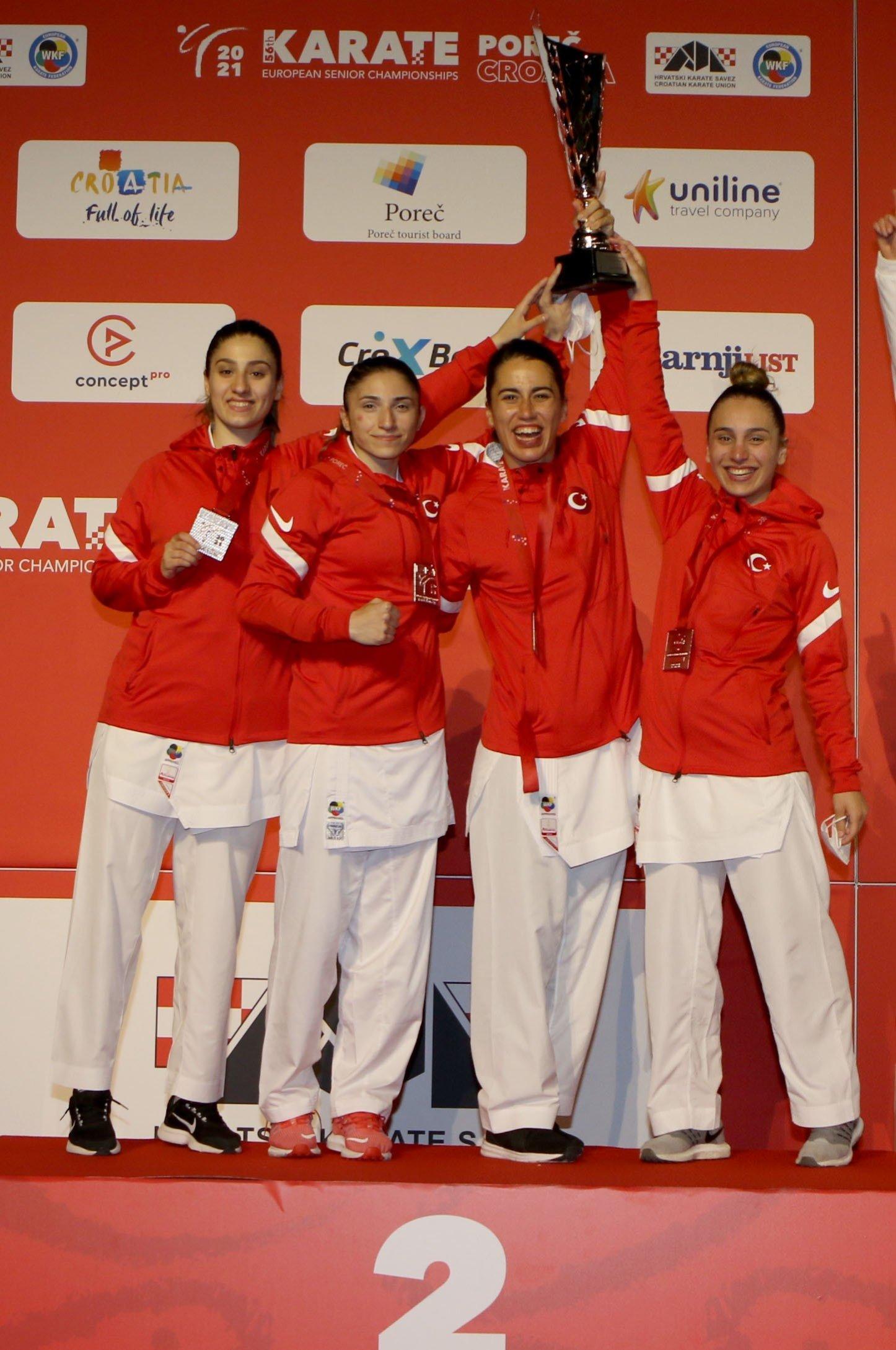 Turkish women's national Kumite team celebrates winning the silver medal in the European Senior Karate Championships, Porec, Croatia, May 22, 2021. (IHA Photo)