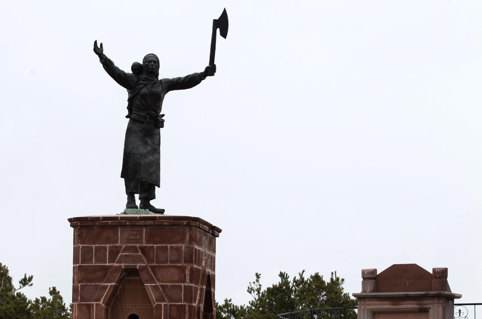 A statue depicting Nene Hatun in eastern Erzurum province, Turkey, May 22, 2021.