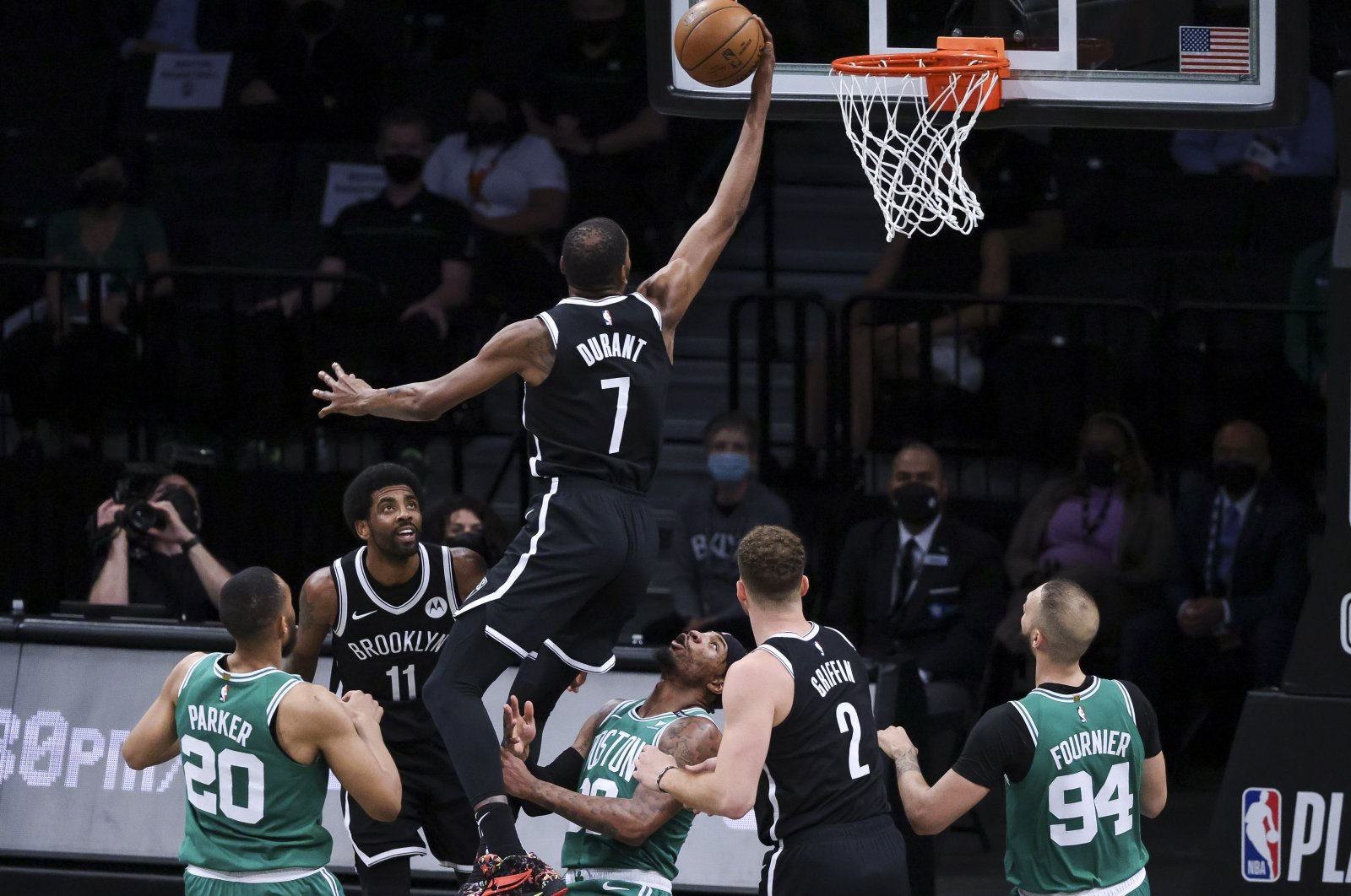 Boston Celtics guard Marcus Smart (3rd R) draws an offensive foul as the Brooklyn Nets forward Kevin Durant (C) drives to the basket during an NBA playoffs game at the Barclays Center in Brooklyn, New York, U.S., May 22, 2021. (EPA Photo)