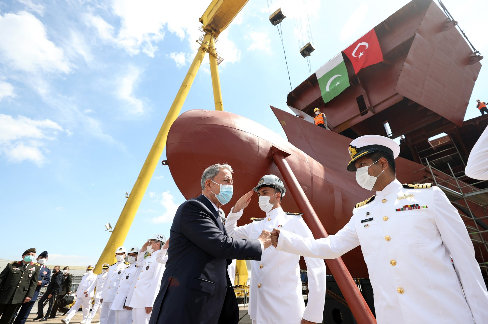 Defense Minister Hulusi Akar at the Sedef shipyard in Istanbul, May 23, 2021 (AA Photo)