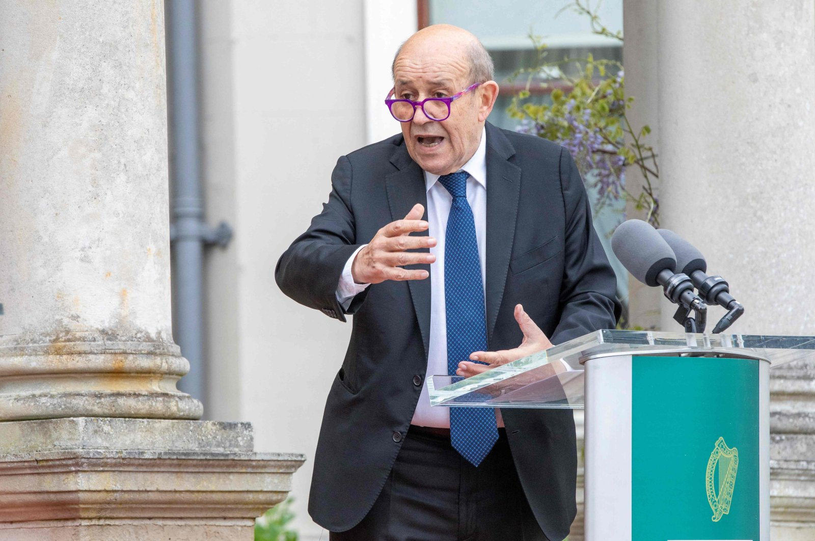 French Minister for Foreign Affairs Jean-Yves Le Drian speaks during a joint news conference with Irish Minister for Foreign Affairs Simon Coveney, at Farmleigh House and Estate in Dublin, Ireland, May 20, 2021. (AFP Photo)