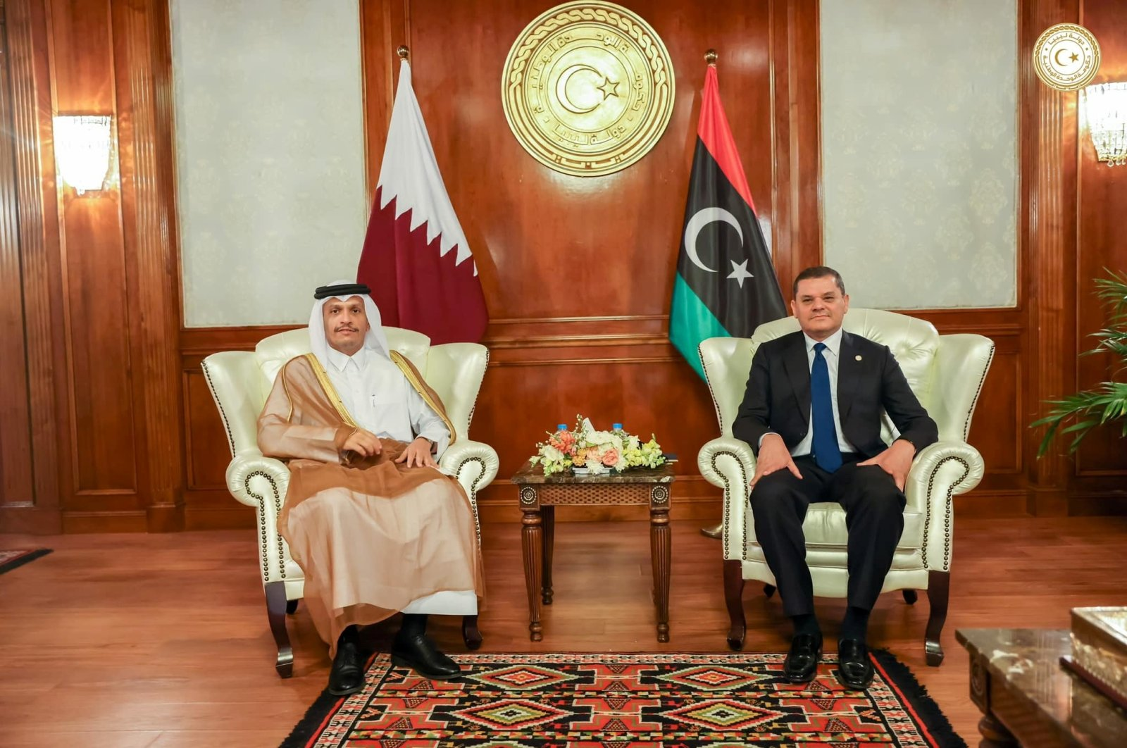 Libyan Prime Minister Abdulhamid Dbeibeh meets with Qatar's Deputy Prime Minister and Minister of Foreign Affairs Mohammed bin Abdulrahman Al Thani in Tripoli, Libya, May 23, 2021. (Media Office of the Prime Minister handout via Reuters)