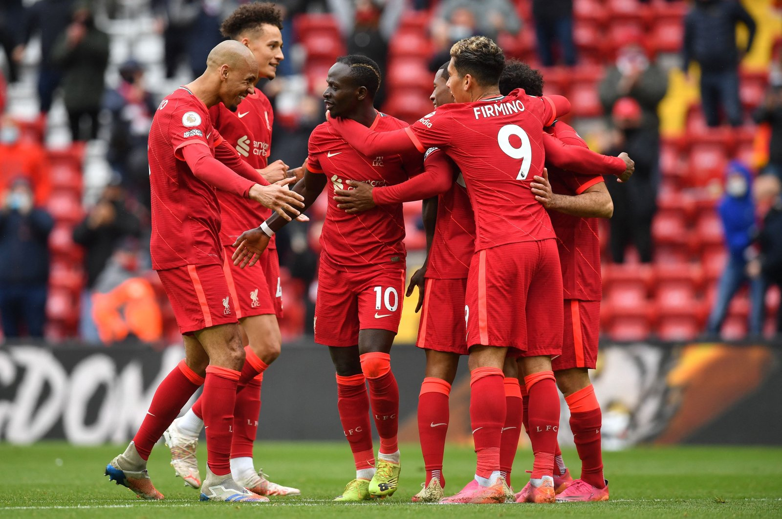 Liverpool's Senegalese striker Sadio Mane (C) celebrates scoring his team's second goal with his teammates during the English Premier League football match between Liverpool and Crystal Palace at Anfield in Liverpool, northwest England, the U.K., May 23, 2021. (AFP Photo)