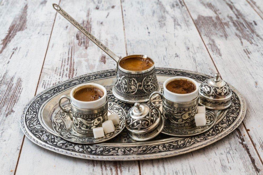 Turkish coffee is served in a copper pot and traditional cups. (Sabah File Photo)
