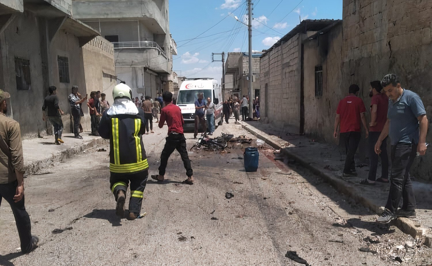 A bomb attached to a motorcycle exploded in the Jarbulus city center, northern Syria, May 24, 2021. (IHA Photo)