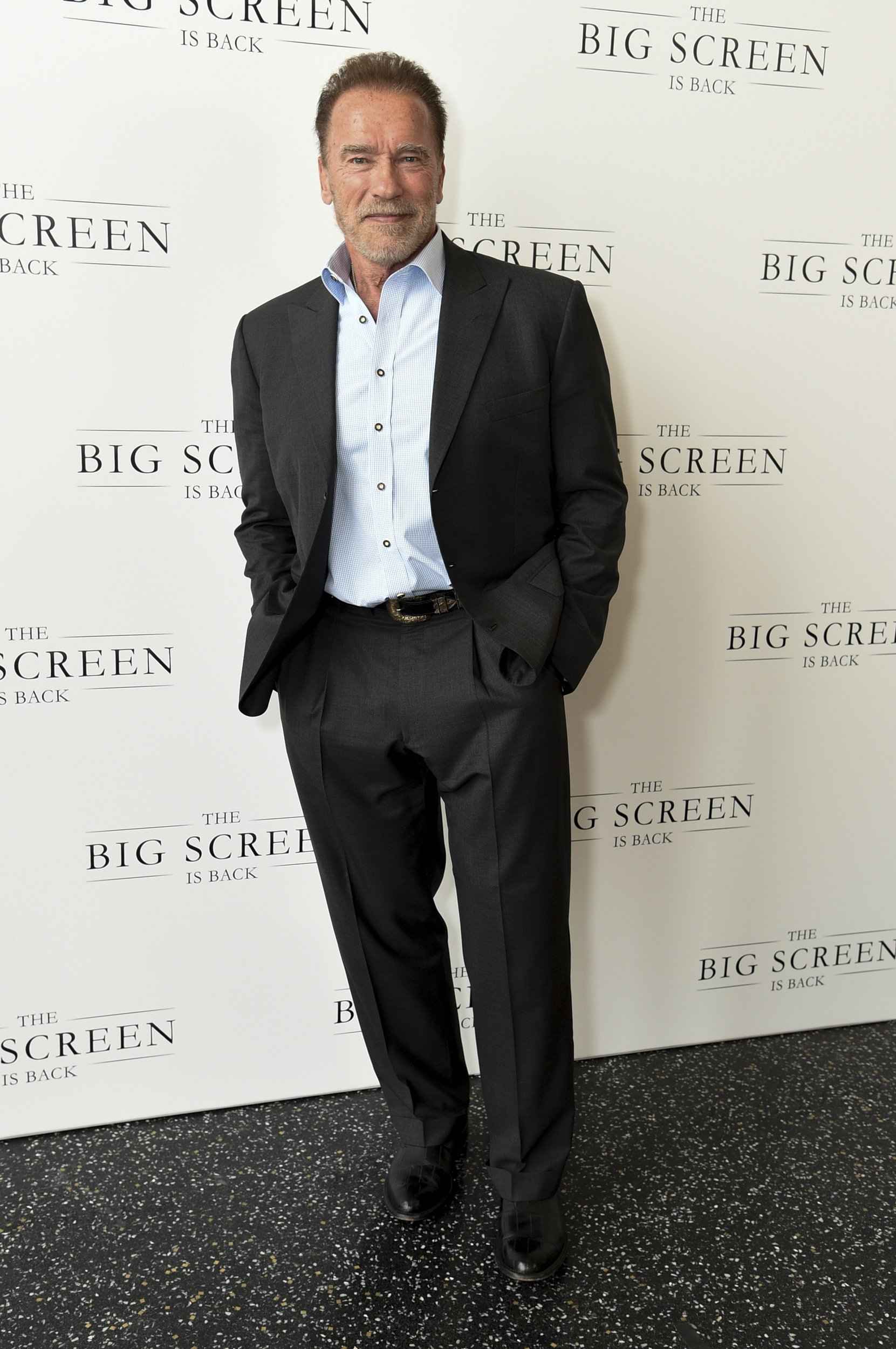 Actor Arnold Schwarzeneggerarrives at 'The Big Screen is Back' media event that included 10 studios convening to showcase a sampling of their summer movie releases in Los Angeles, California, U.S., May 19, 2021. (AP Photo)