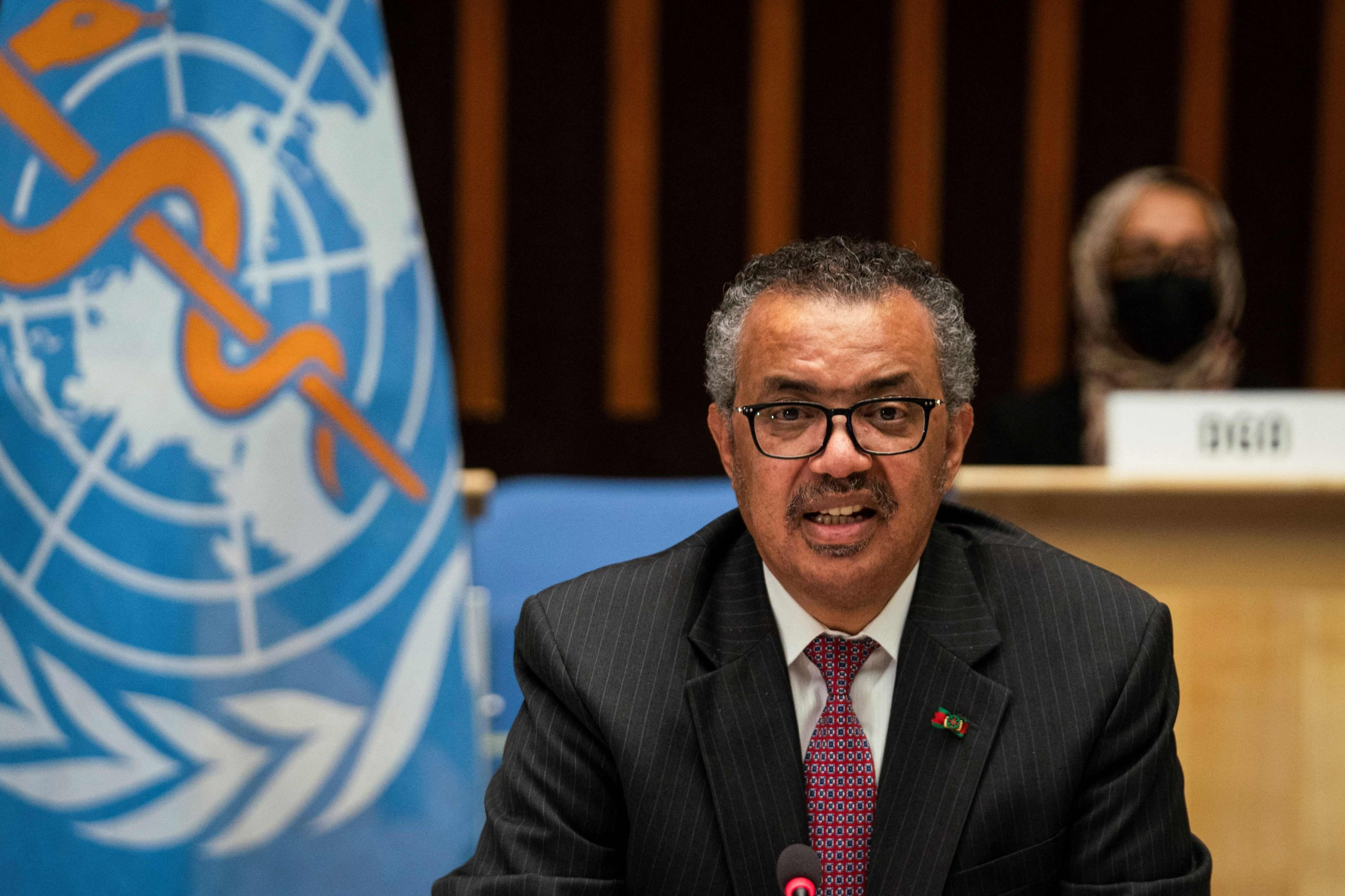 Director-General of the World Health Organization (WHO) Tedros Adhanom Ghebreyesus delivers a speech during the 74th World Health Assembly, at the WHO headquarters, in Geneva, Switzerland, May 24, 2021. (Photo by Christopher Black / World Health Organization handout / AFP)