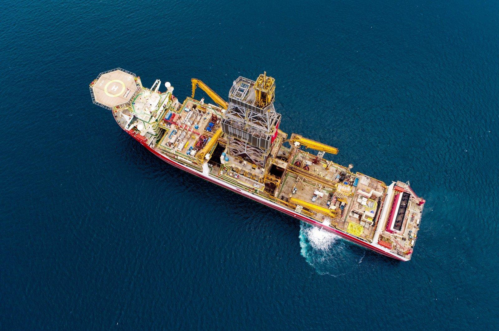 Turkey's third drillship Kanuni is seen off Istanbul en route to the Black Sea, Turkey, Oct. 19, 2020. (IHA Photo)