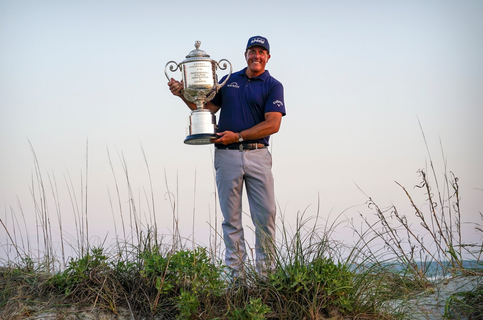 U.S. golfer Phil Mickelson poses with the Wanamaker Trophy after winning the PGA Championship golf tournament, Kiawah Island, South Carolina, U.S., May 23, 2021 (Reuters Photo)