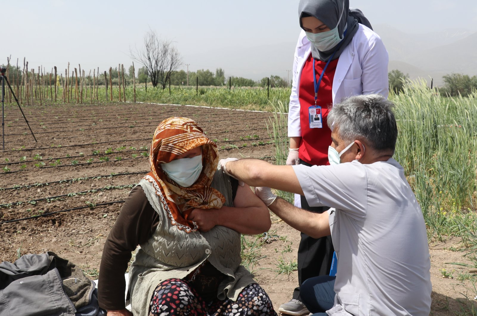 Vesile Ayan receives her first dose of a COVID-19 vaccine, in Erzincan, eastern Turkey, May 24, 2021. (AA PHOTO)