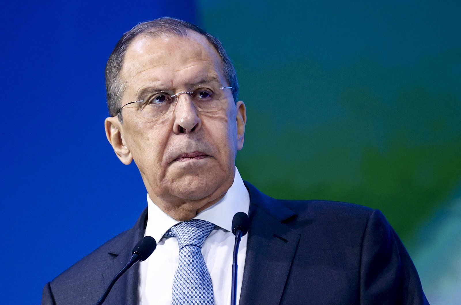 Russian Foreign Minister Sergey Lavrov speaks to participants of an online forum in Moscow, Russia, Friday, May 21, 2021. (Russian Foreign Ministry Press Service via AP)