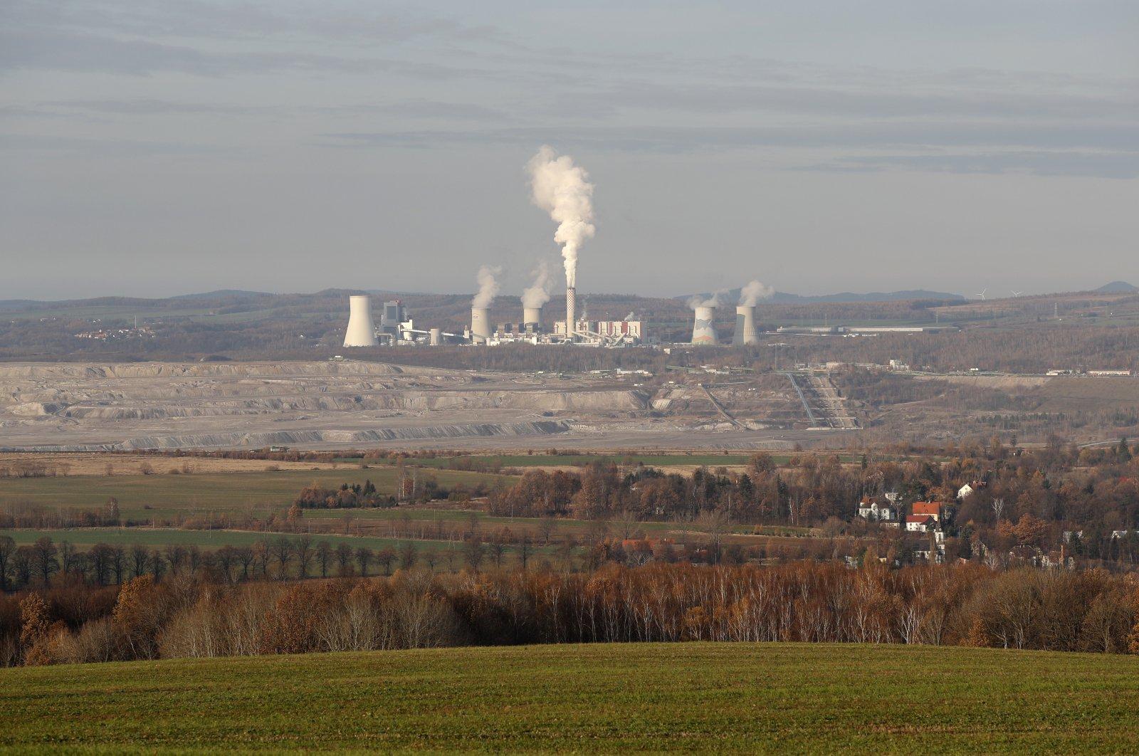 The Turow lignite coal mine and Turow power plant near the town of Bogatynia, Poland, Nov. 19, 2019. (AP Photo)