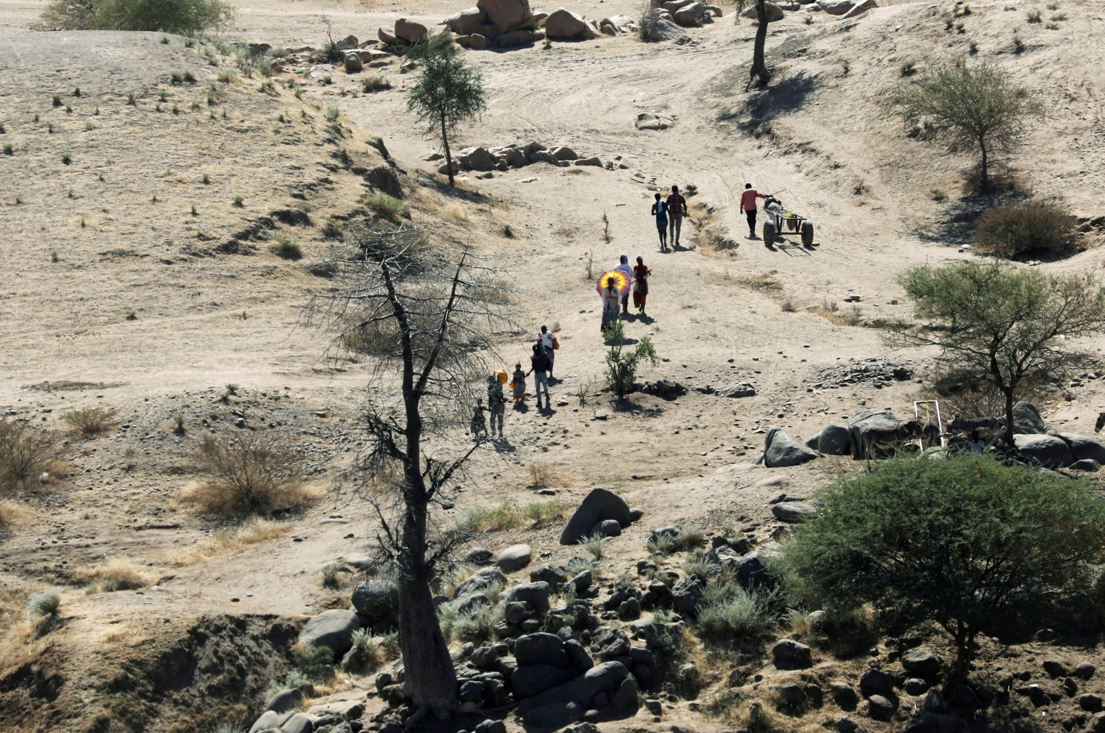 Ethiopians fleeing from the Tigray region walk toward a river to cross from Ethiopia to Sudan, near the Hamdeyat refugee transit camp, which houses refugees fleeing the fighting in the Tigray region, on the border in Sudan, December 1, 2020. (Reuters Photo)