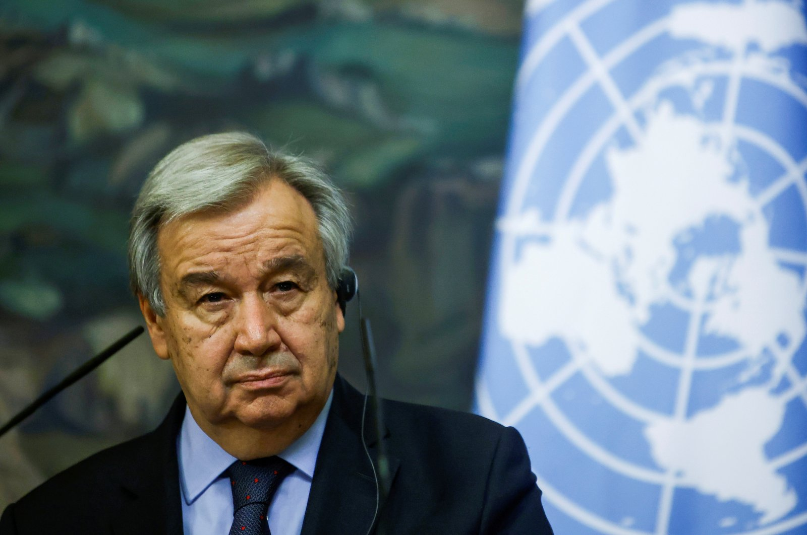U.N. Secretary-General Antonio Guterres attends a news conference following talks with Russian Foreign Minister Sergei Lavrov in Moscow, Russia, May 12, 2021. (Reuters Photo)