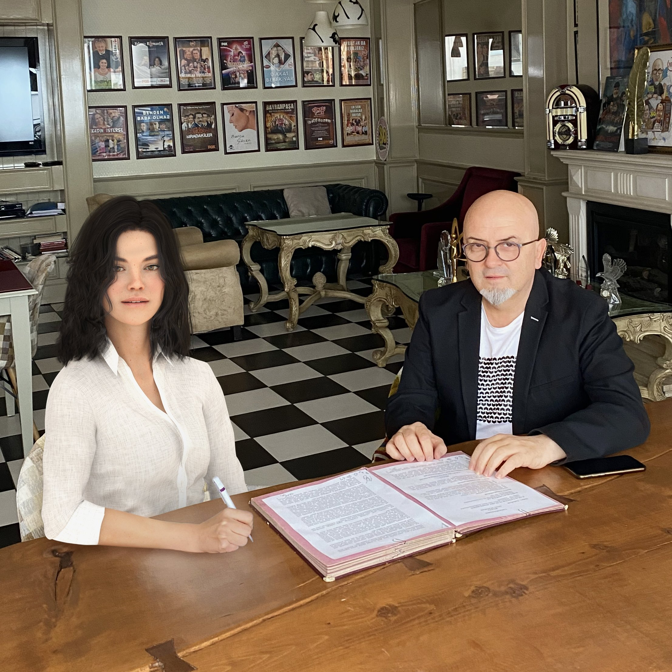Turkey's first robot actor Aypera (L) and producer Birol Güven sign the film contract.
