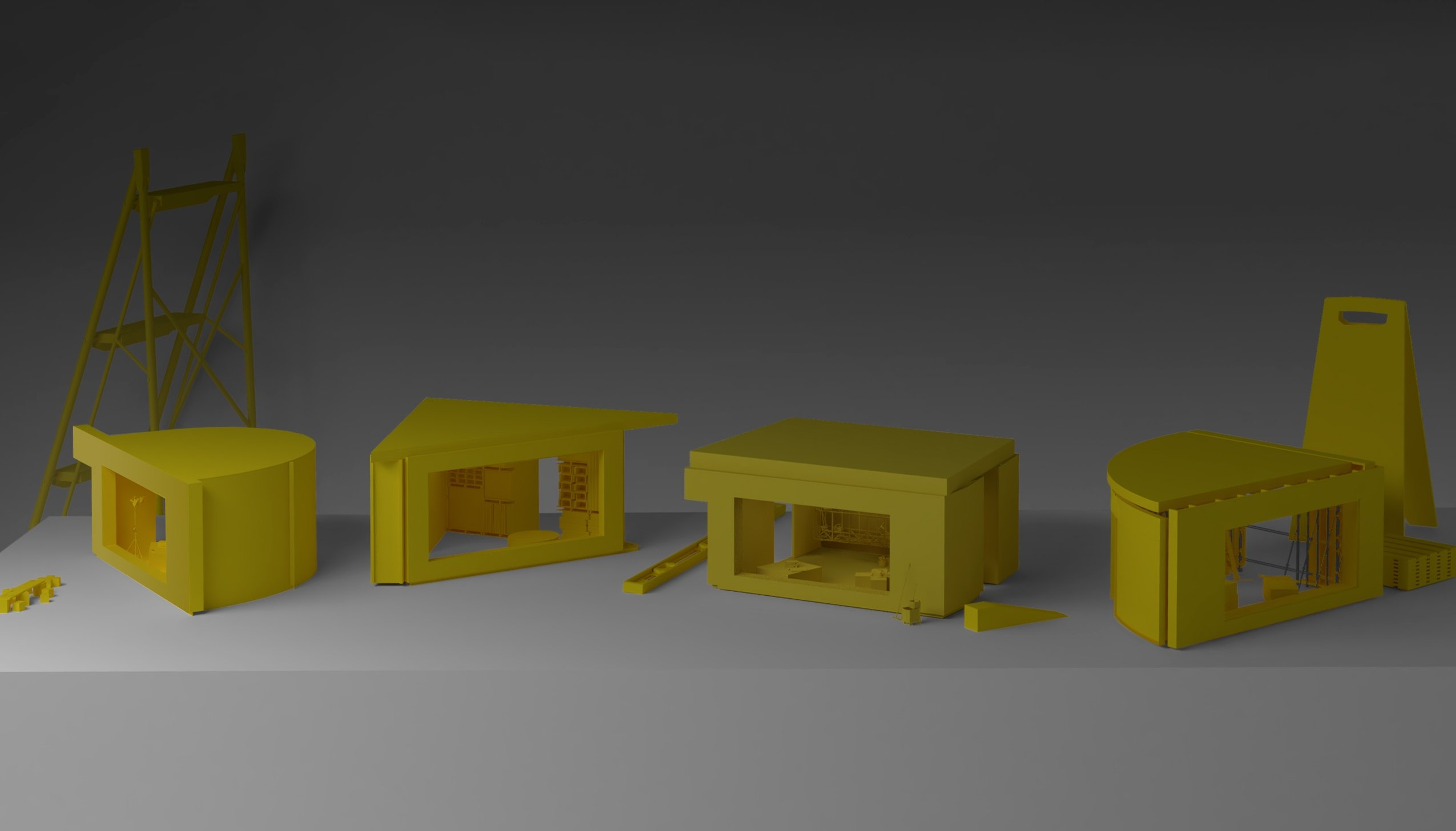 The digital drawing of 'Four Dioramas' from 'Architecture as Measure.' (Courtesy of IKSV)