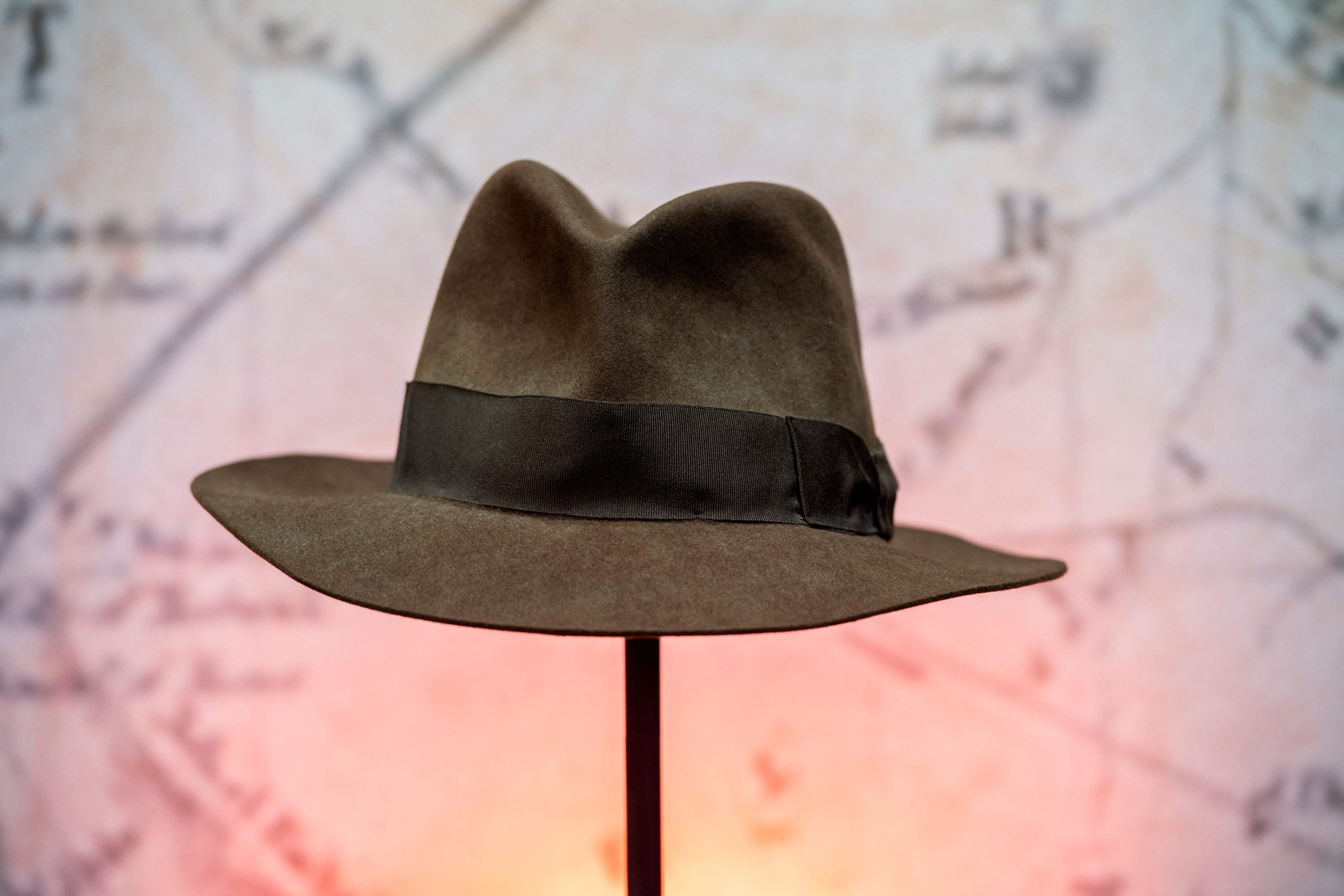 Harrison Ford's Indiana Jones' fedora hat from the movie 'Indiana Jones & the Temple of Doom' is exhibited during a press preview of Prop Store's Iconic Film & TV Memorabilia in Valencia, California, May 14, 2021. (AFP Photo)