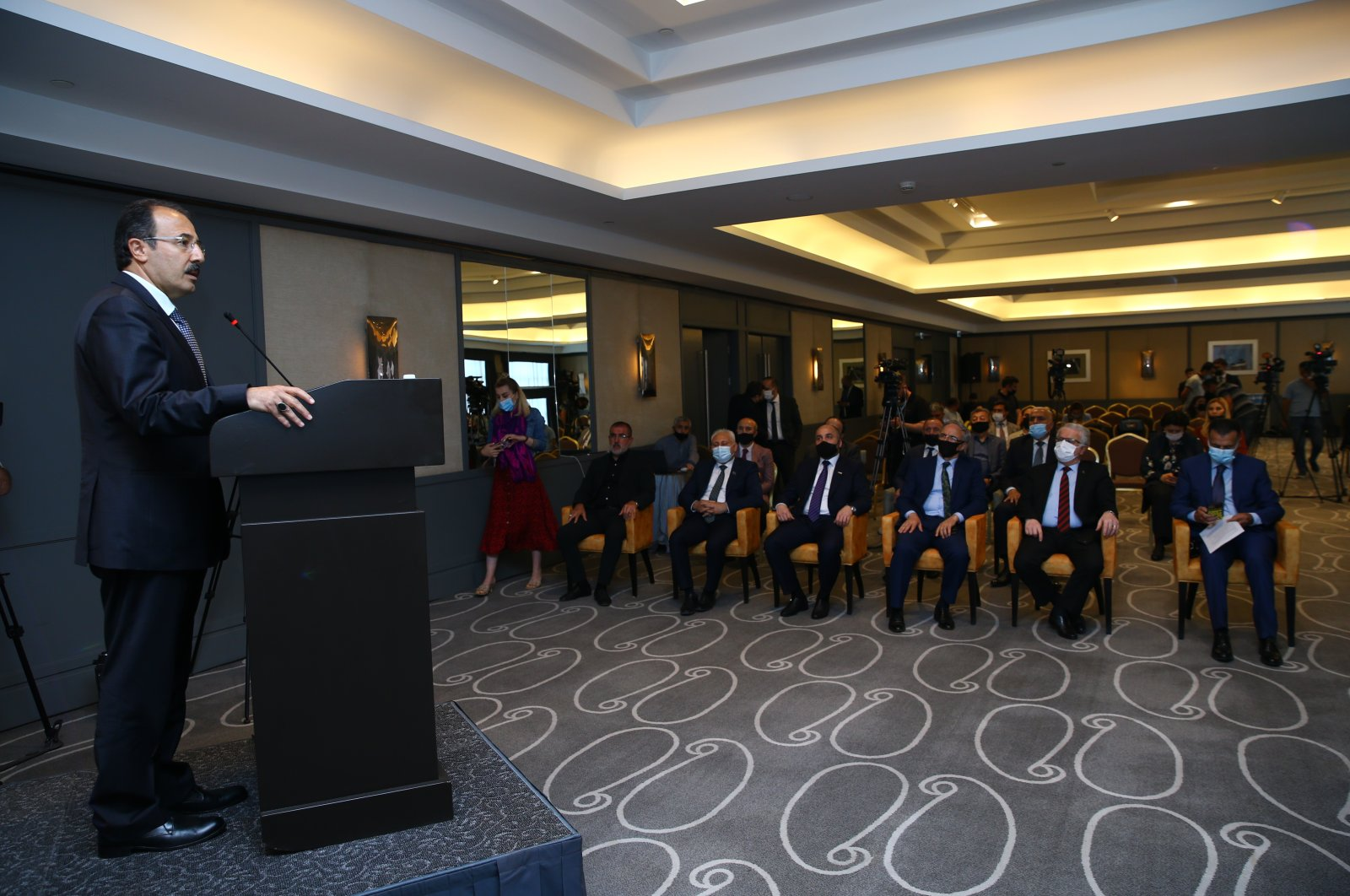 "Turkey's Ambassador to Azerbaijan Cahit Bağcı speaks at the launch of ""Turkic.World,"" a digital platform jointly established by Albayrak Media Group and Trend News Agency, Baku, Azerbaijan, Monday, May 24, 2021. (AA Photo)"