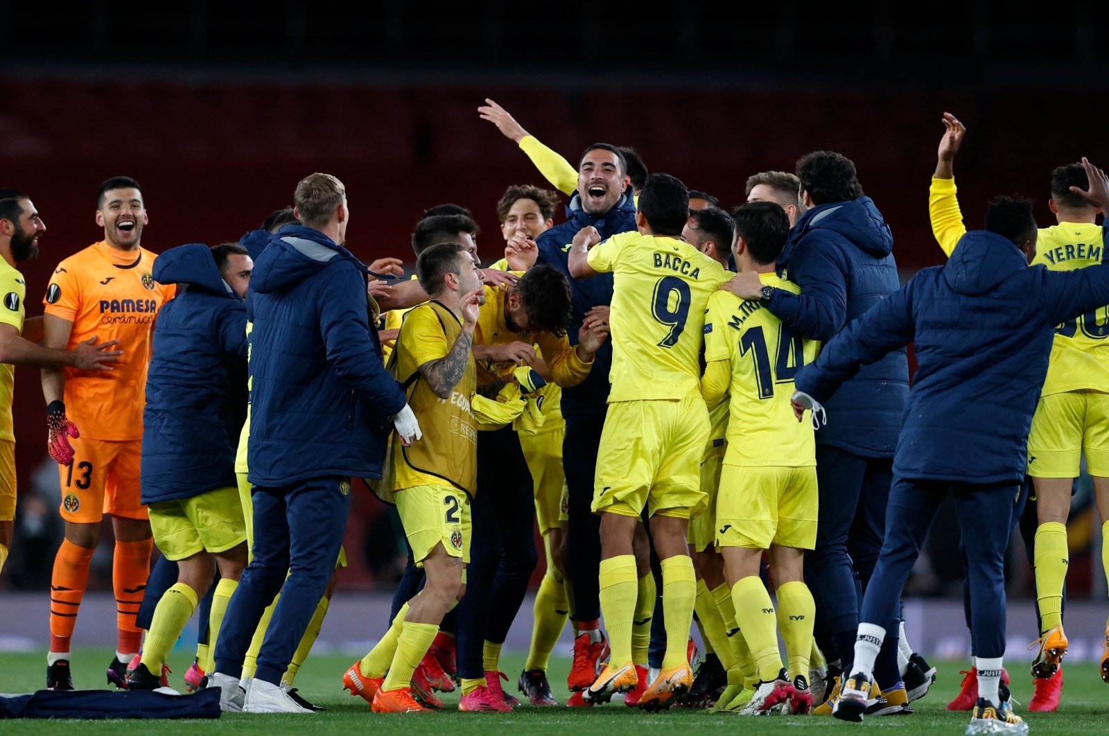 Villarreal players celebrate after reaching the UEFA Europa League final with a draw against Arsenal at the Emirates Stadium, London, England, May 6, 2021. (AFP Photo)