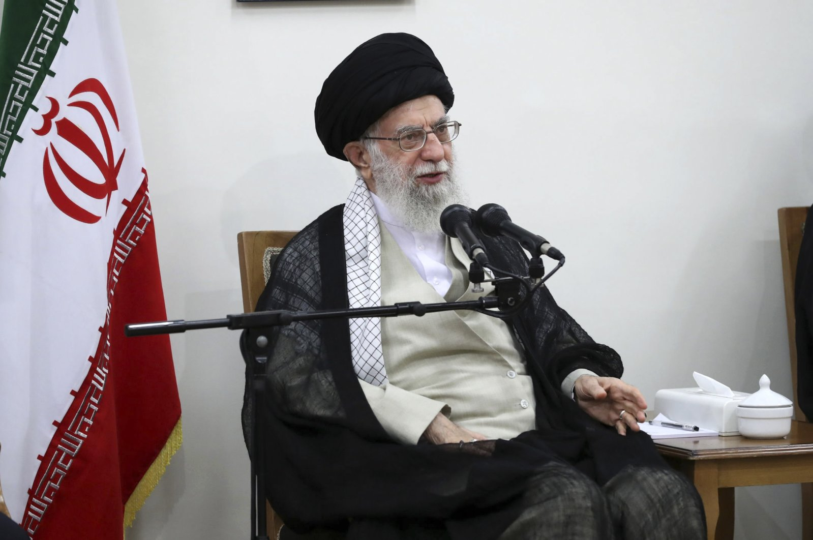 In this picture released on June 19, 2019, by the official website of the office of the Iranian supreme leader, Supreme Leader Ayatollah Ali Khamenei speaks in a meeting at his residence in Tehran, Iran. (AP Photo)
