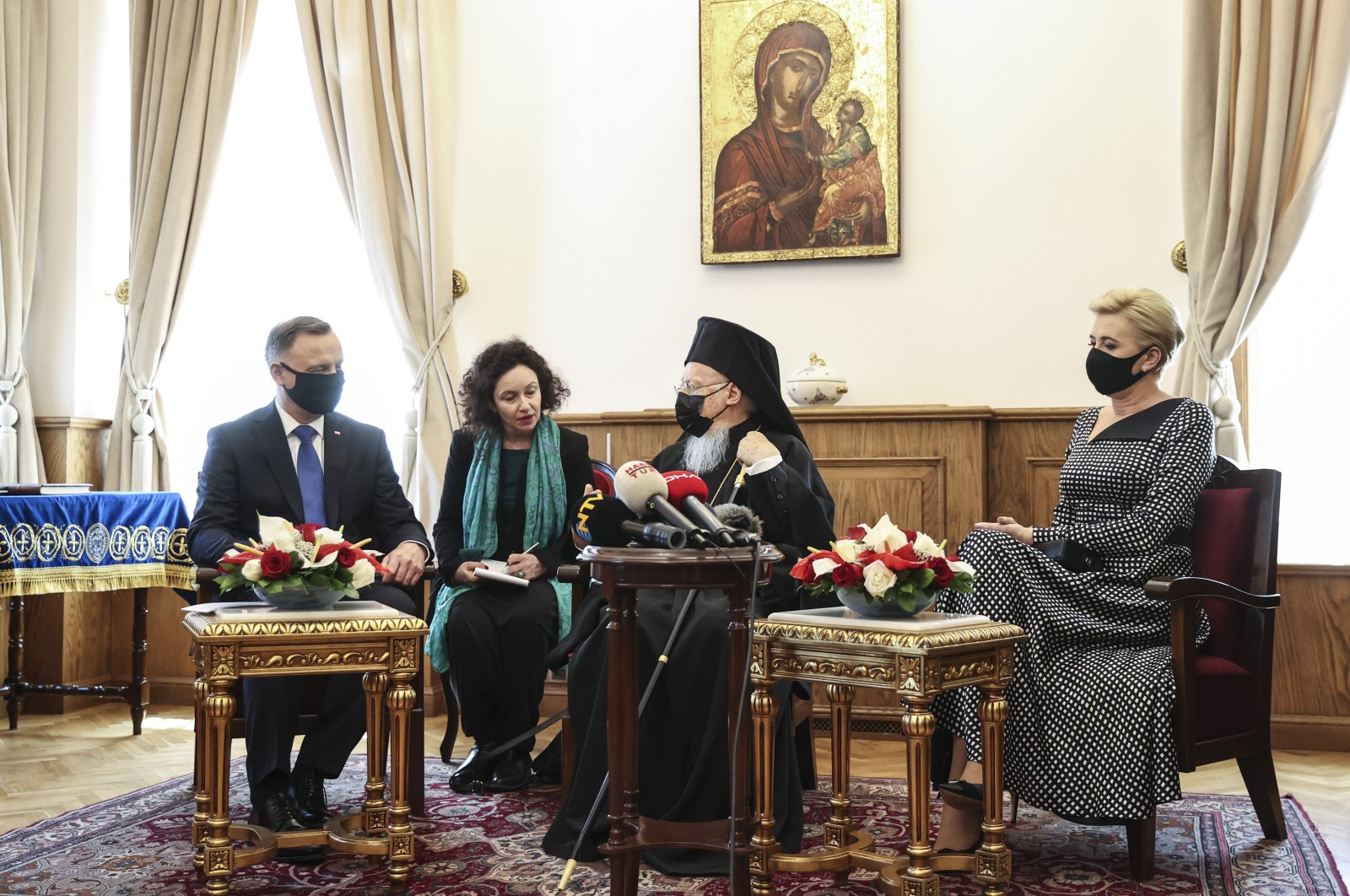 Poland's PresidentAndrzej Duda (L) and his wife Agata Kornhauser Duda (R) meet with Fener Greek Orthodox Patriarch Bartholomew (R-2) in Istanbul, Turkey, May 25, 2021. (AA Photo)