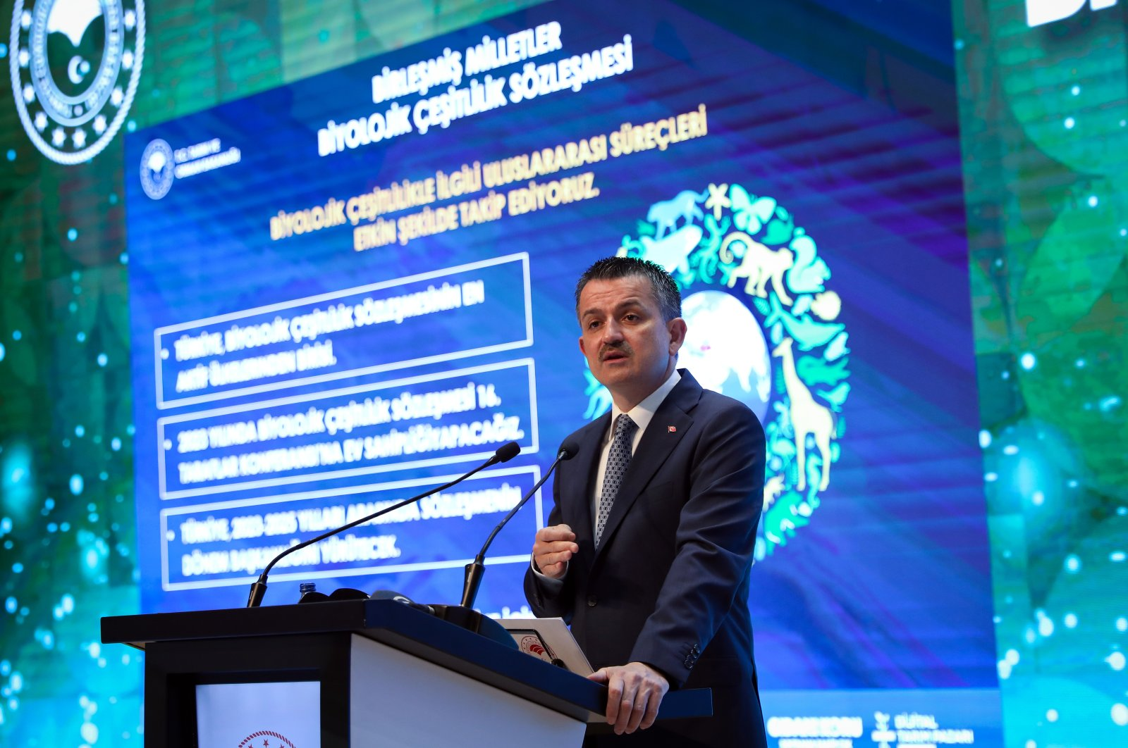 Minister of Agriculture and Forestry Bekir Pakdemirli speaks at the event on biodiversity, in the capital Ankara, Turkey, May 25, 2021. (AA PHOTO)