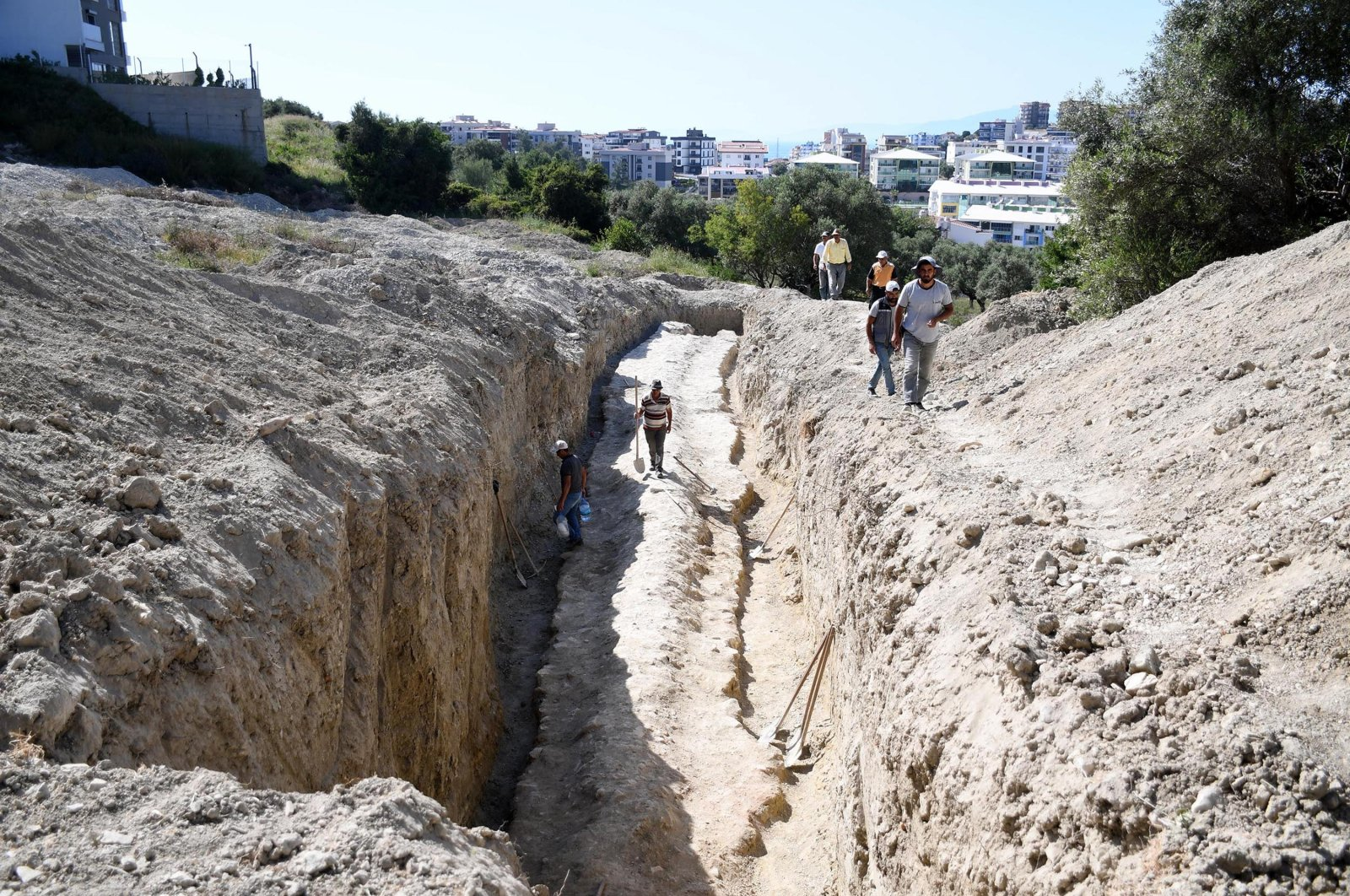 Researchers from Aydın Archeology Museum continue a field study to identify a newly discovered aqueduct in the Kuşadası district of Aydın, western Turkey, May 24, 2021. (DHA Photo)