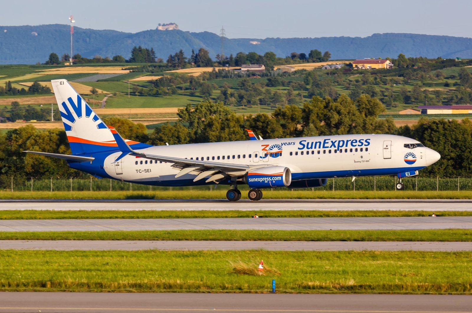 A SunExpress Boeing 737-800 aircraft lands at Stuttgart Airport in Germany, July 9, 2020. (Shutterstock Photo)