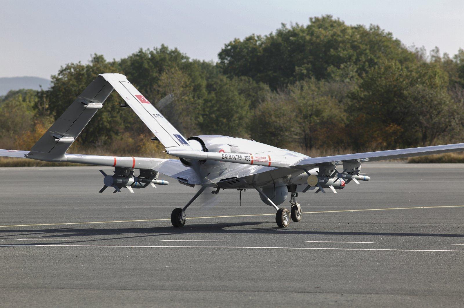 Baykar's Bayraktar TB2 combat drone seen in Istanbul, Turkey, May 24, 2021. (IHA Photo)