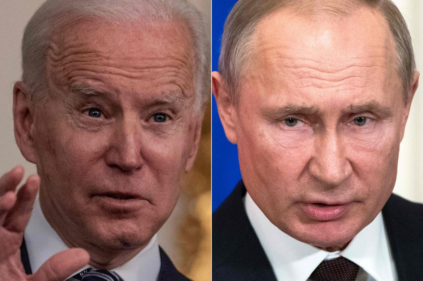 This file combination of pictures created on March 17, 2021 shows U.S. President Joe Biden (L) during remarks on the implementation of the American Rescue Plan in the State Dining room of the White House in Washington, D.C., U.S., on March 15, 2021, and Russian President Vladimir Putin as he and his Turkish counterpart hold a joint press statement following their talks at the Kremlin in Moscow, Russia, on March 5, 2020. (Photos from AFP)