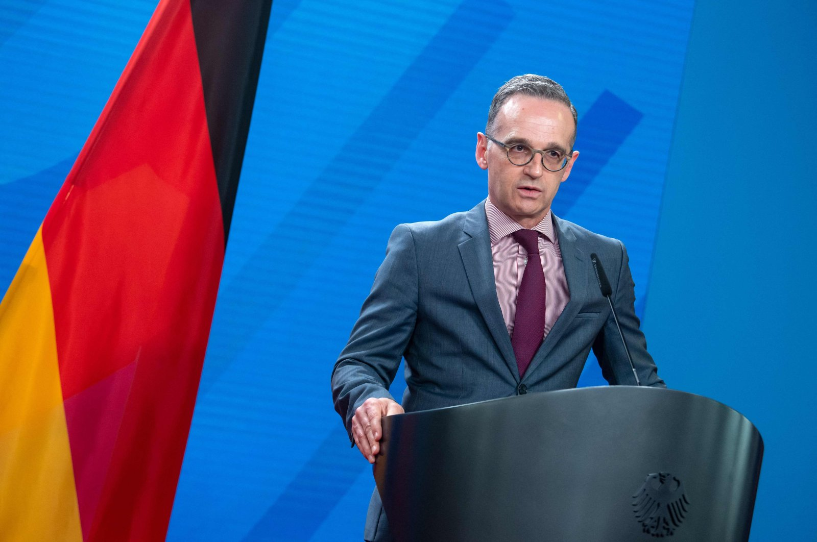 German Foreign Minister Heiko Maas attends a joint press conference with the Czech foreign minister ahead of a meeting at the Foreign Ministry, Berlin, Germany, May 25, 2021. (AFP Photo)