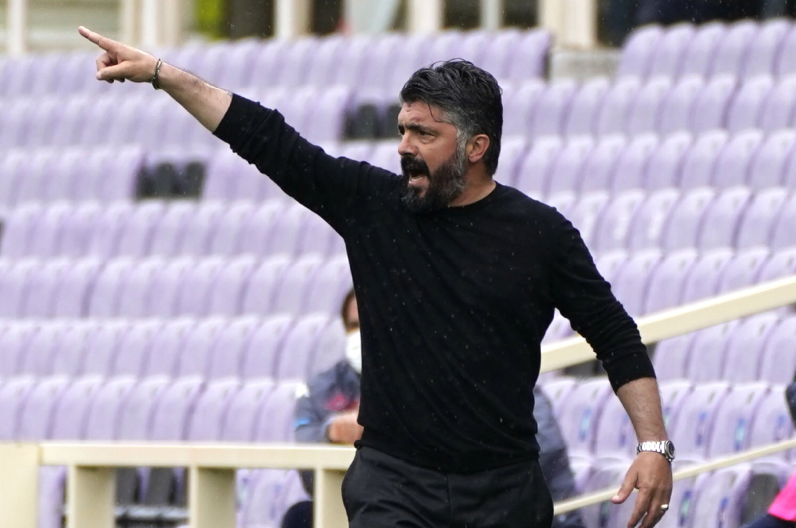 Napoli coach Gennaro Gattuso gestures during the Italian Serie A soccer match between Fiorentina and Napoli at the Artemio Franchi stadium in Florence, Italy, May 16, 2021. (LaPresse via AP)