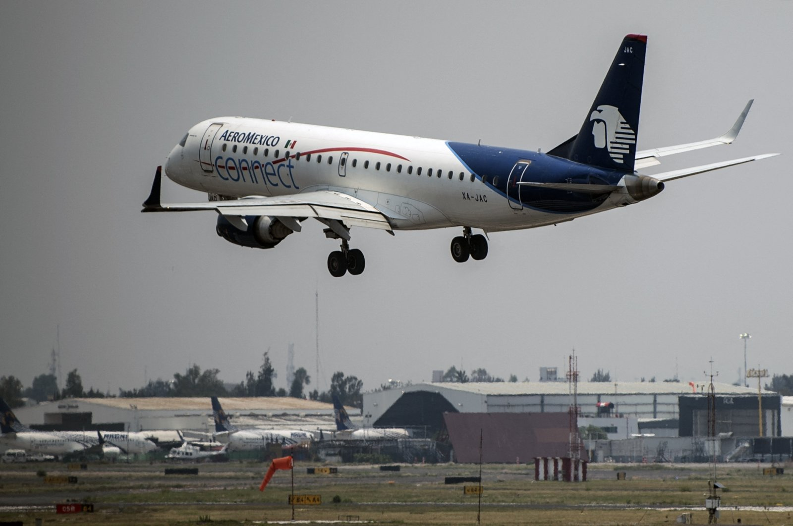 An Aeromexico plane lands at the Benito Juarez International airport, in Mexico City, Mexico, May 20, 2020. (AFP Photo)