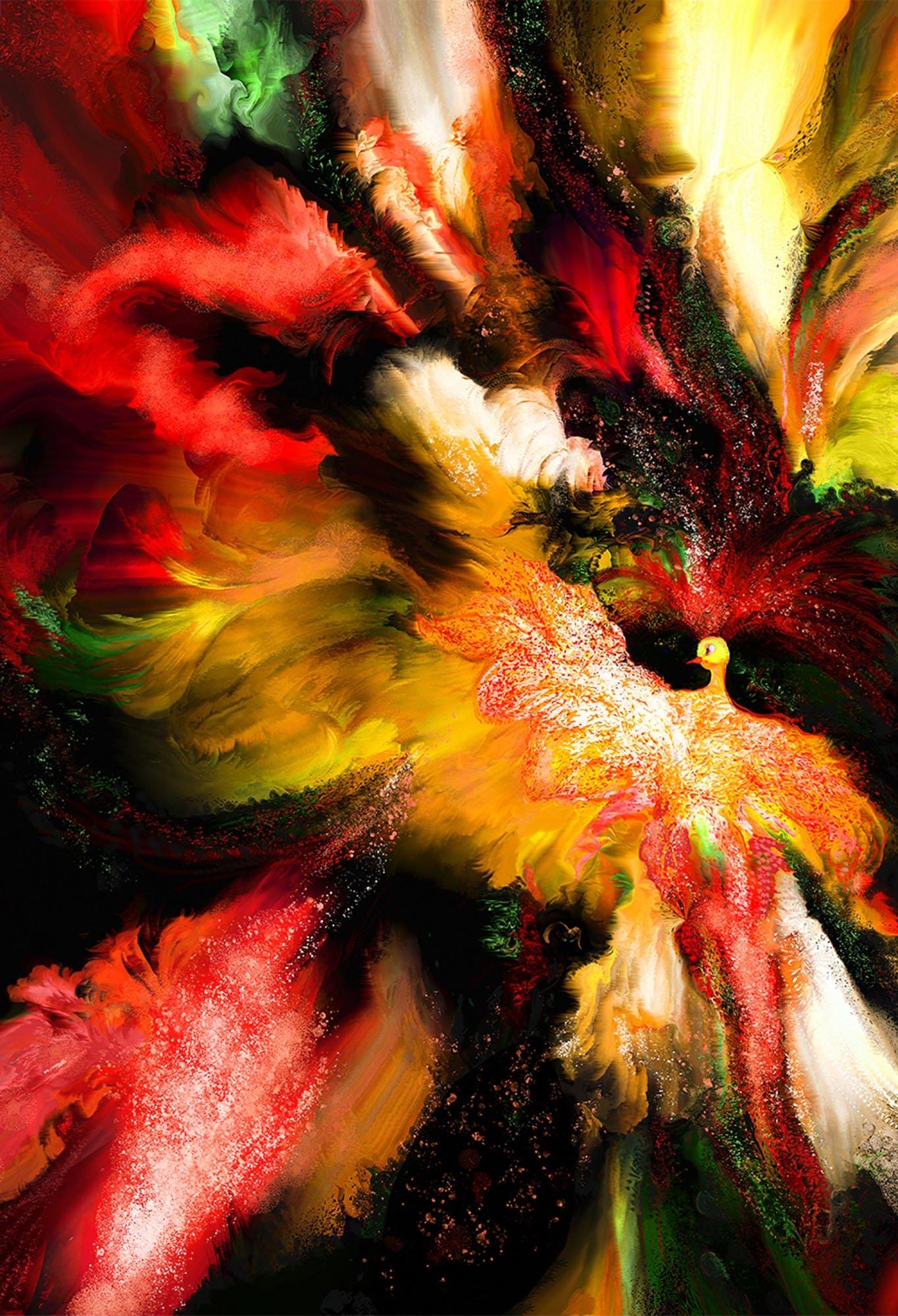 Yasemin Cengiz Çağatay, 'Peacock Angel,' mixed media, 86 by 120 centimeters. (Courtesy of Contemporary Istanbul)