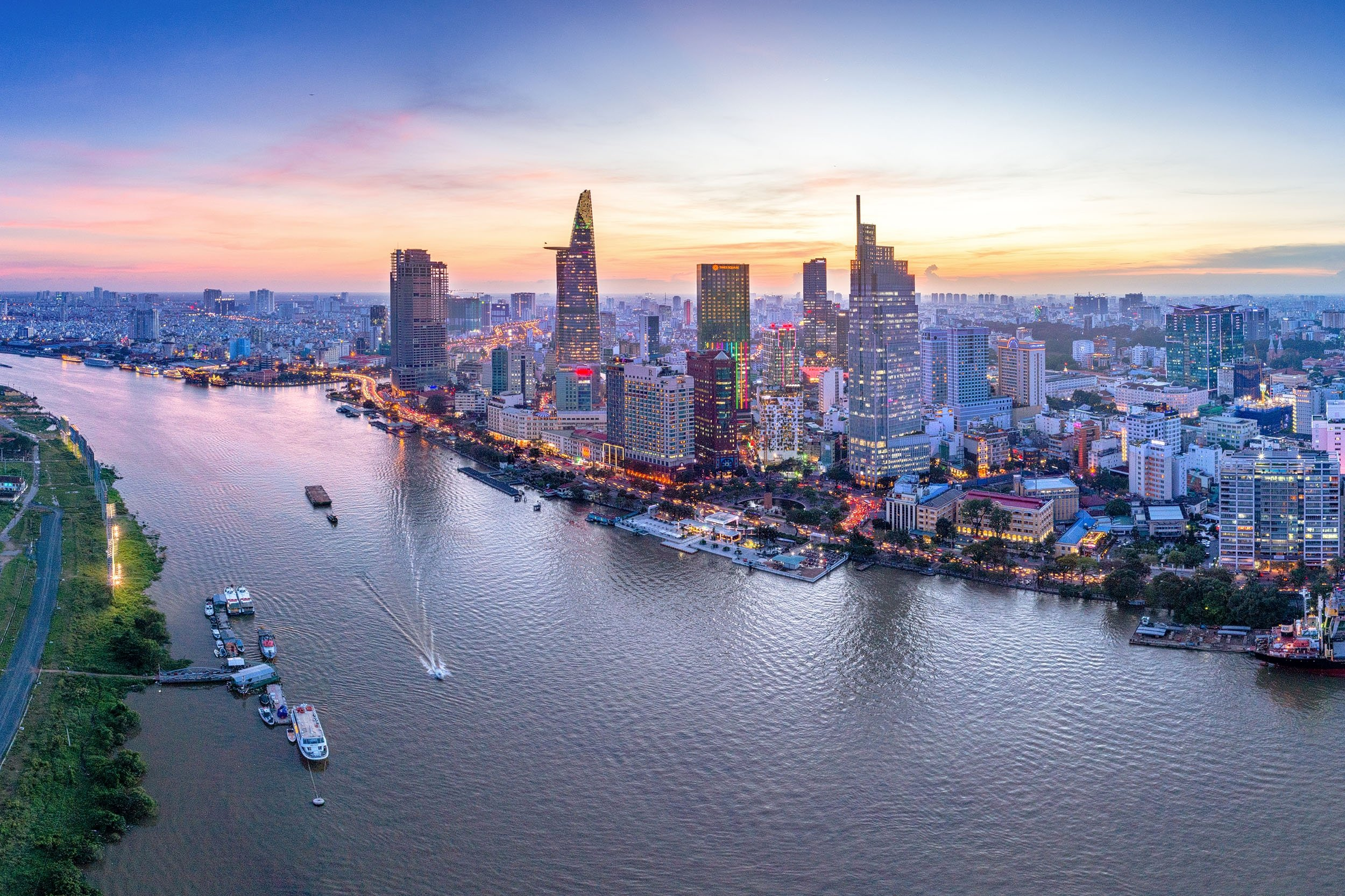 An aerial view shows the skyscrapers in the urban region of the city of Ho Chi Minh along the River Saigon, Vietnam, Nov. 20, 2017.(Shutterstock Photo)